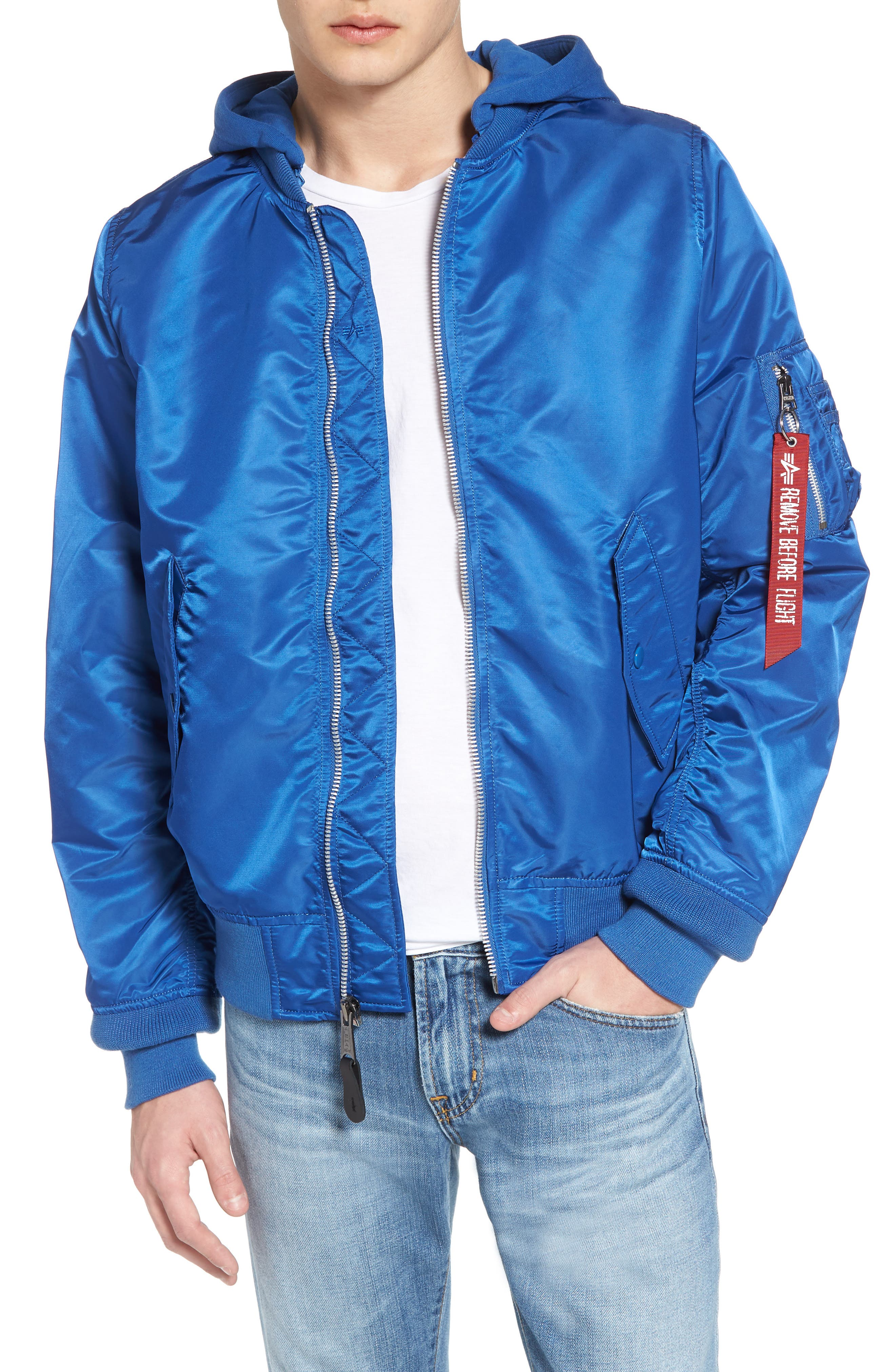 L-2B Natus Water Resistant Flight Jacket,                         Main,                         color, Pacific Blue