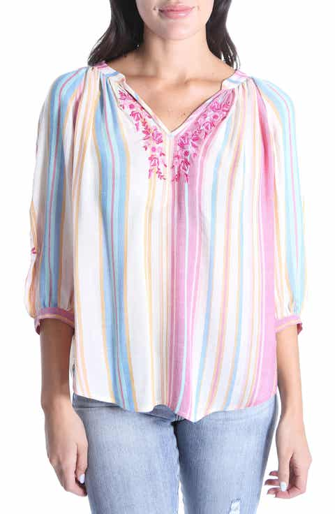 Hot Sale White Women Ethnic Embroidered Boho Hippie Peasant Mexican Loose  Gypsy Blouse Tops Free Size