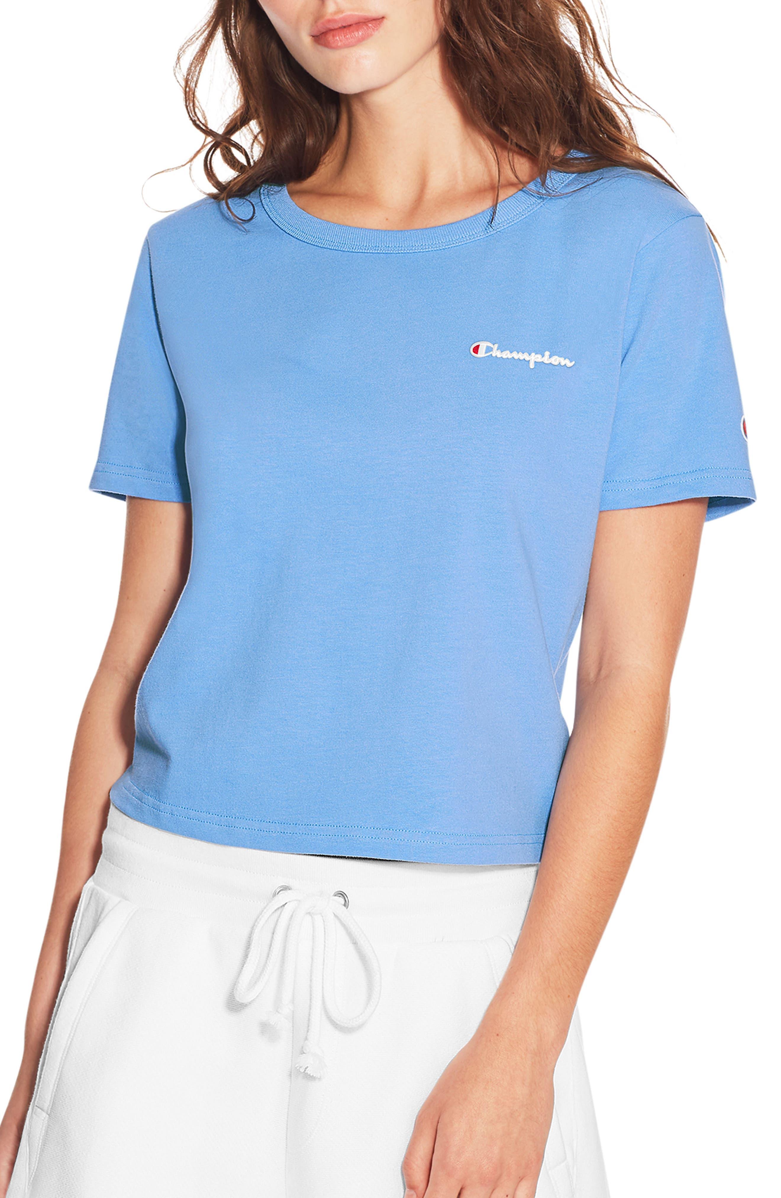 Cropped Sweatshirt,                         Main,                         color, Swiss Blue