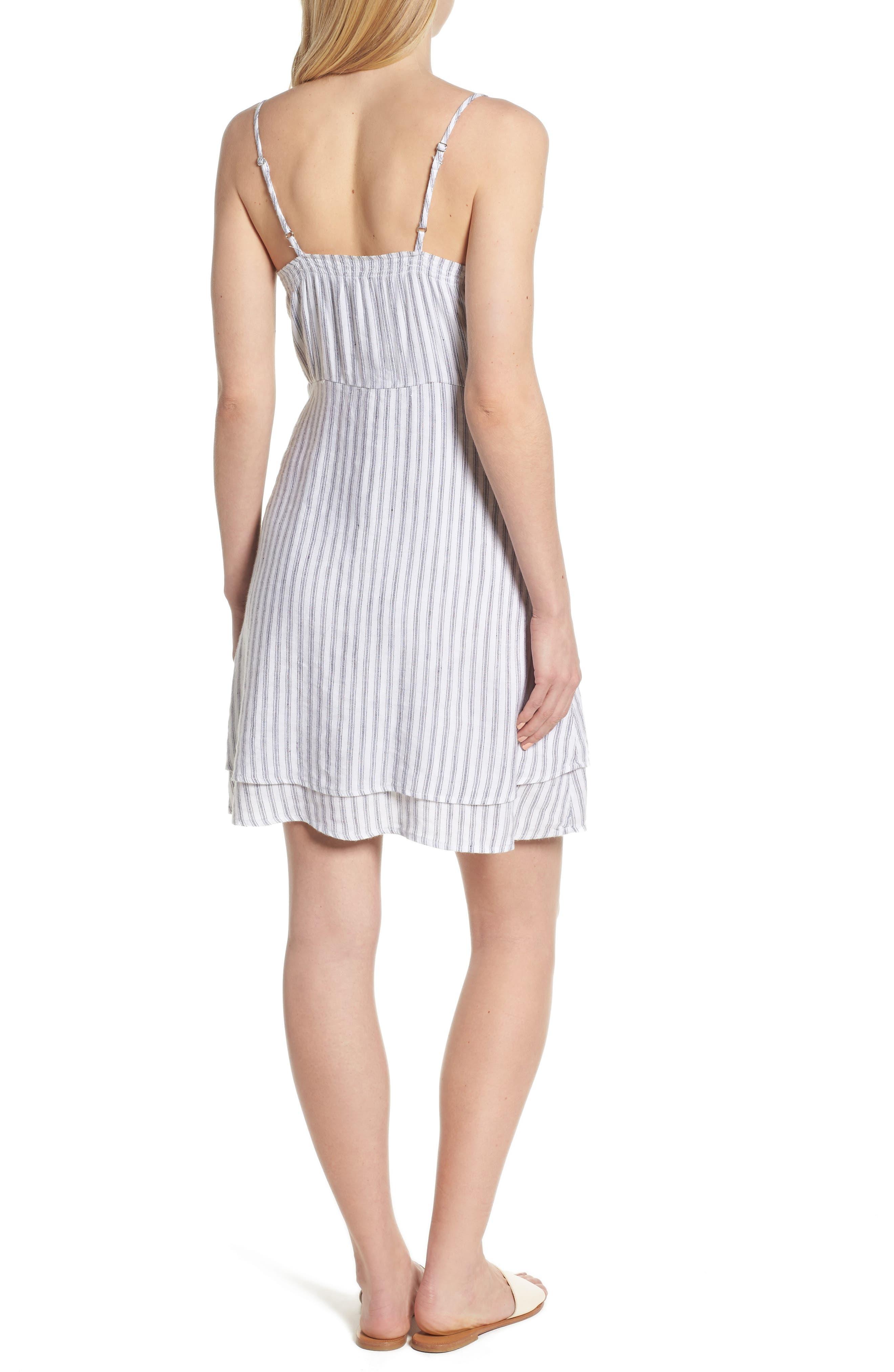 August Stripe Tie Front Dress,                             Alternate thumbnail 2, color,                             Canela Stripe