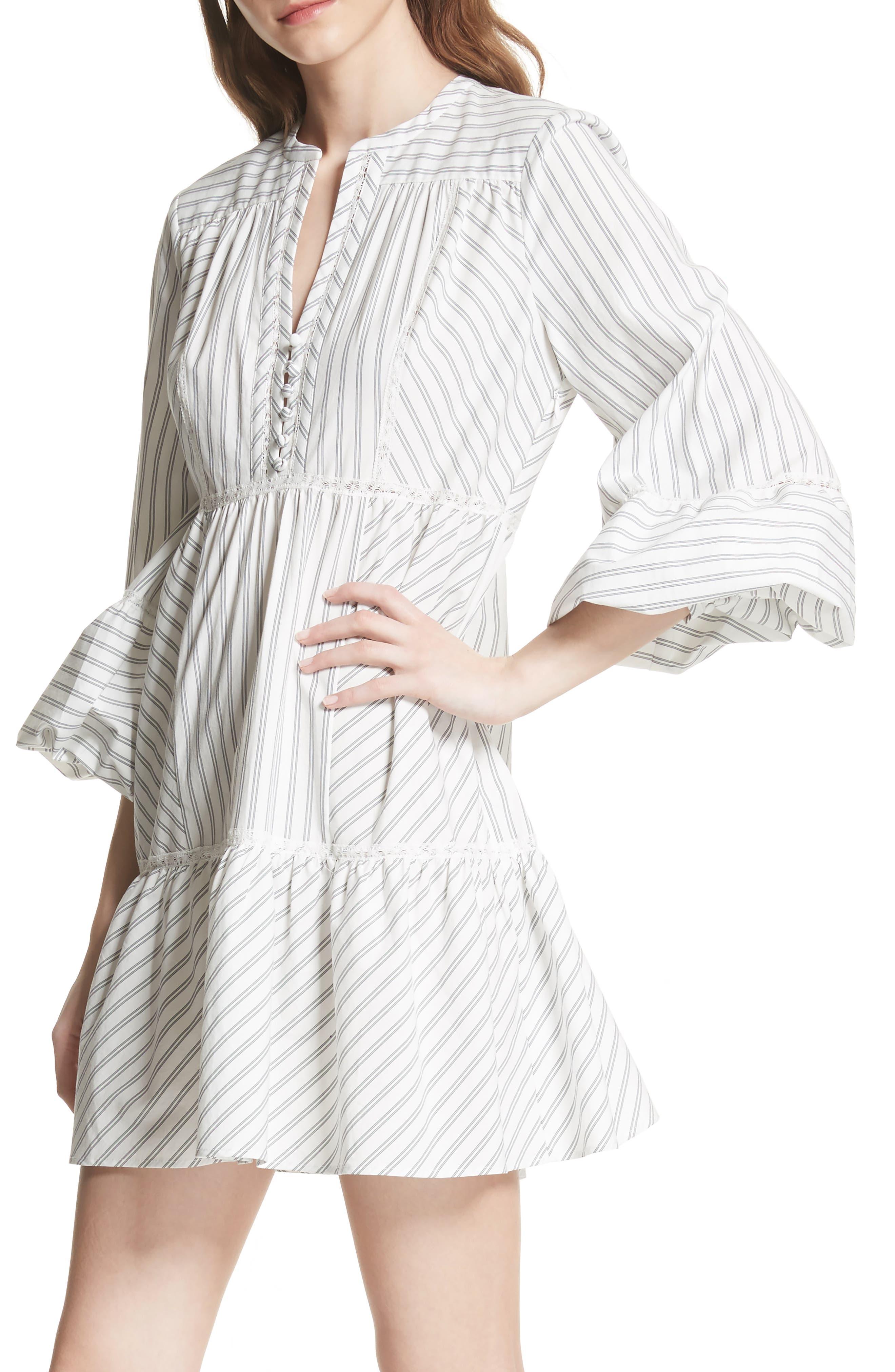 Marison Stripe A-Line Dress,                             Alternate thumbnail 4, color,                             Porcelain