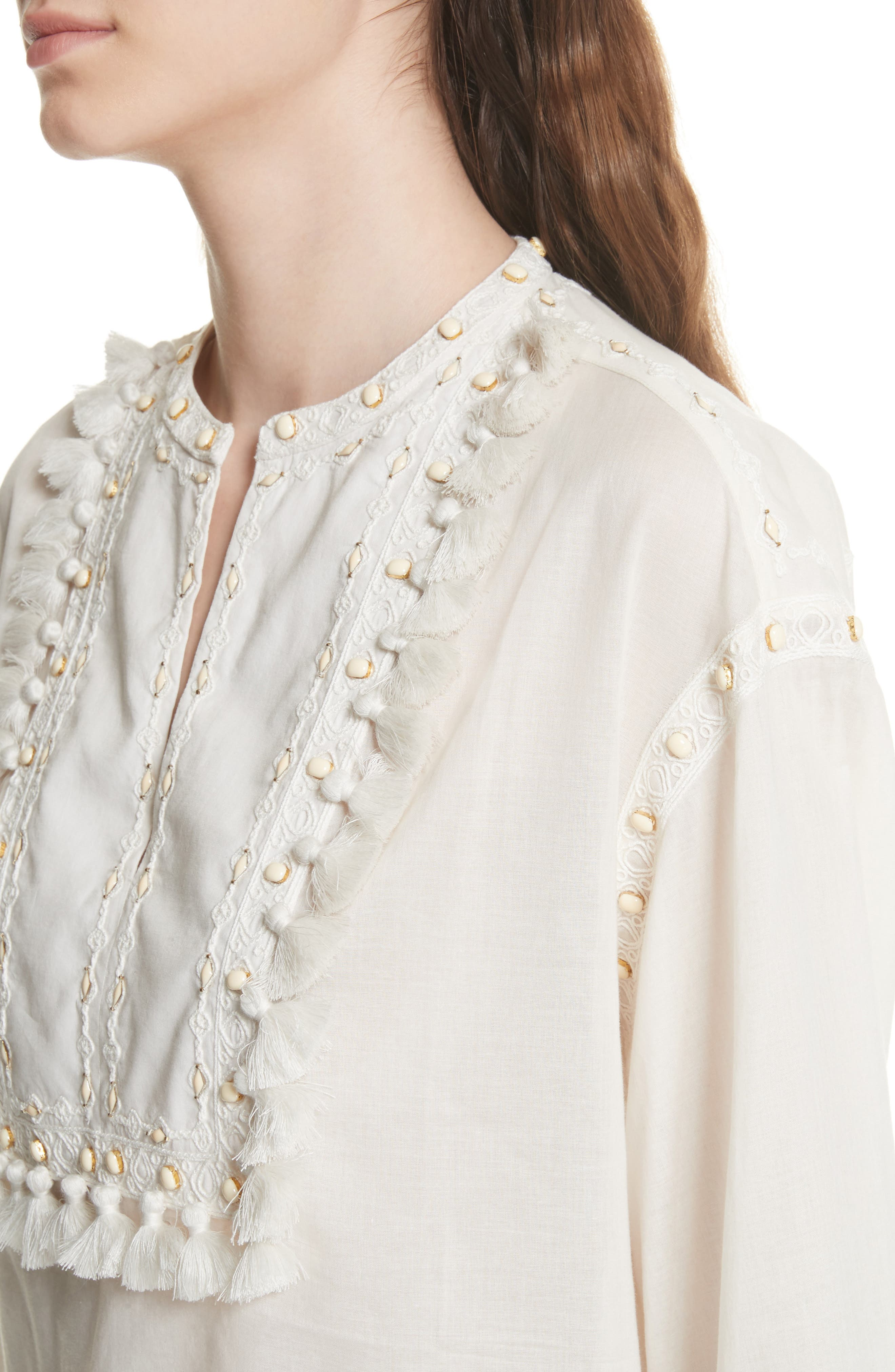 Lizzie Tassel Trim Tunic,                             Alternate thumbnail 4, color,                             New Ivory