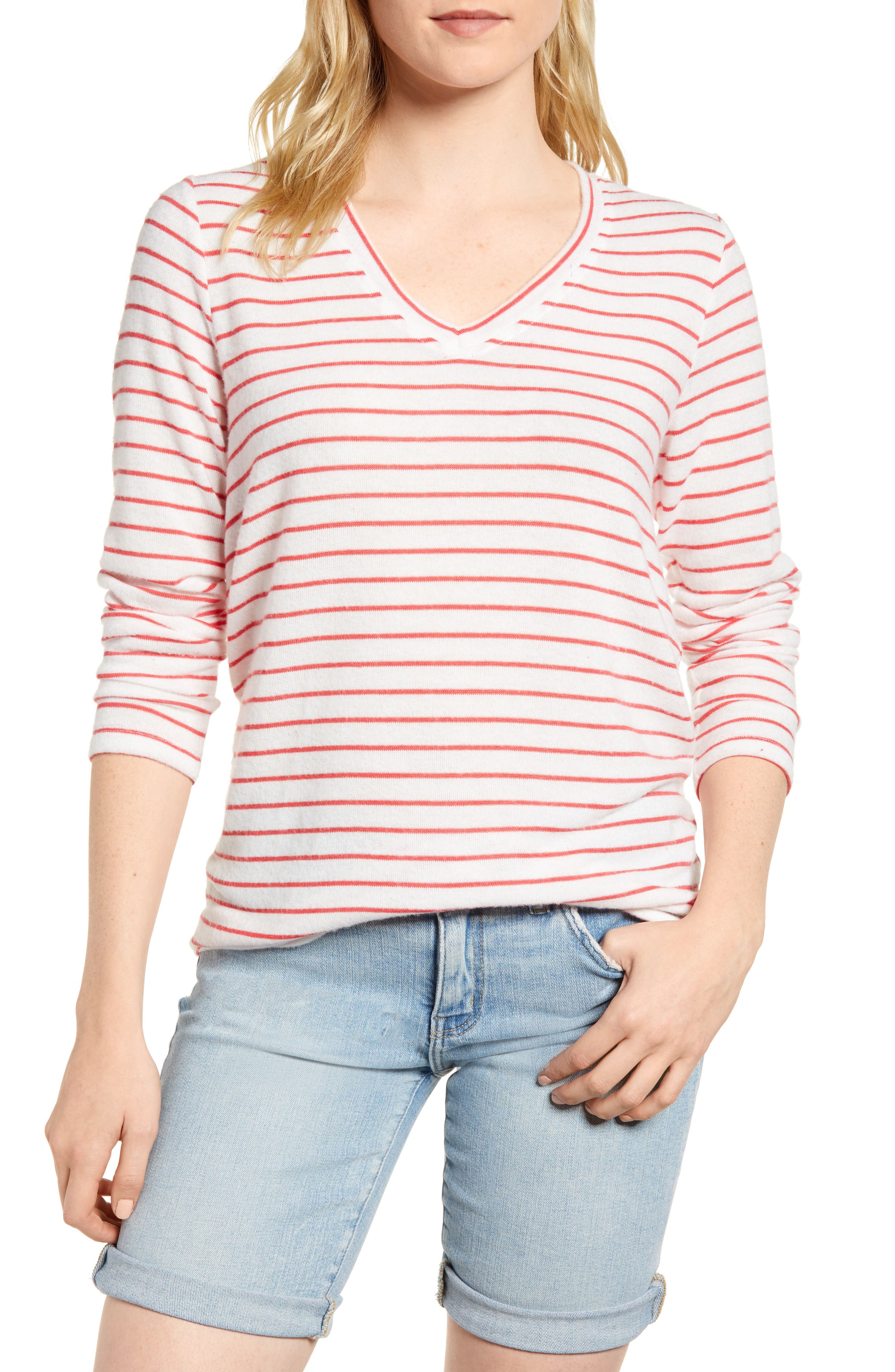 x Living in Yellow Steph Cozy Stripe Top,                         Main,                         color, Poppy/ White Stripe