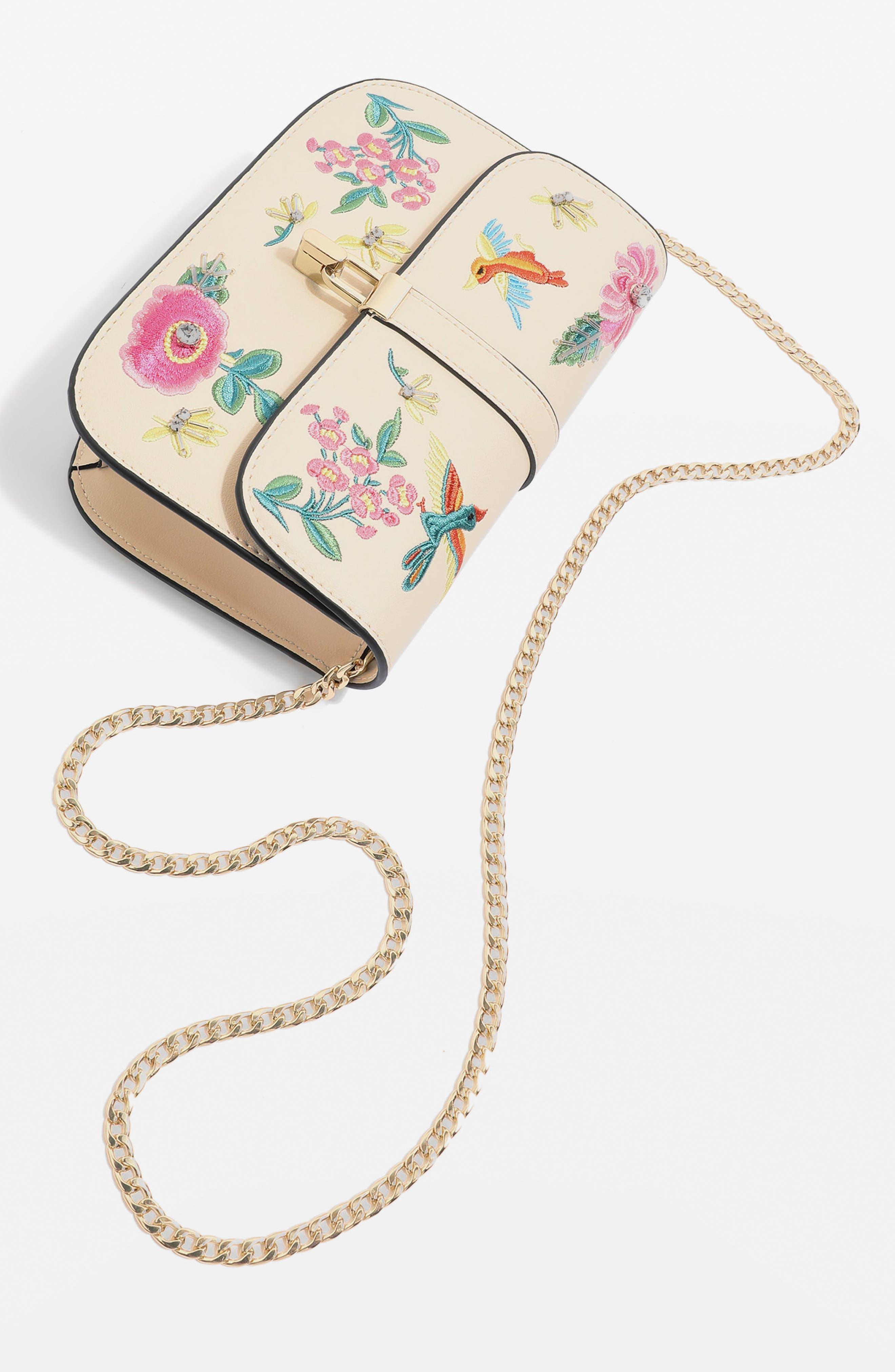 Hummingbird Embroidered Crossbody Bag,                             Alternate thumbnail 3, color,                             Cream Multi