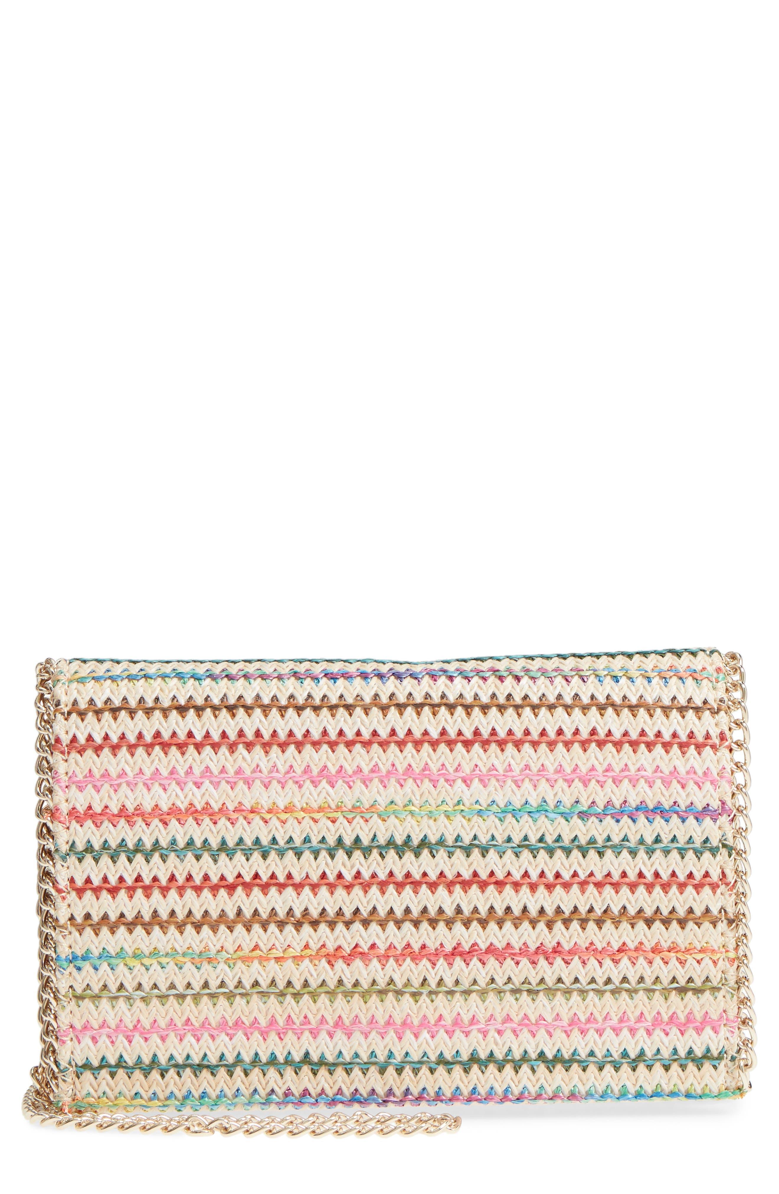 Multistripe Woven Clutch,                             Main thumbnail 1, color,                             Natural Multicolor Stripe