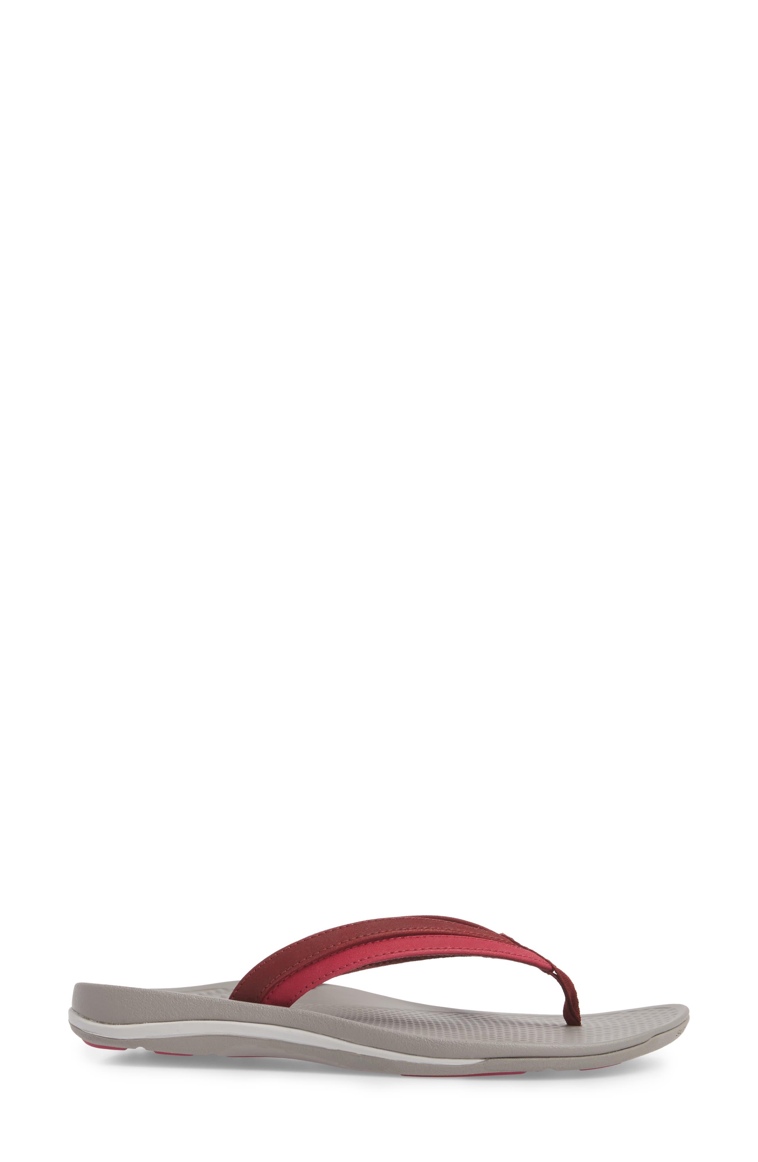 Rose Flip Flop,                             Alternate thumbnail 3, color,                             Red Faux Leather