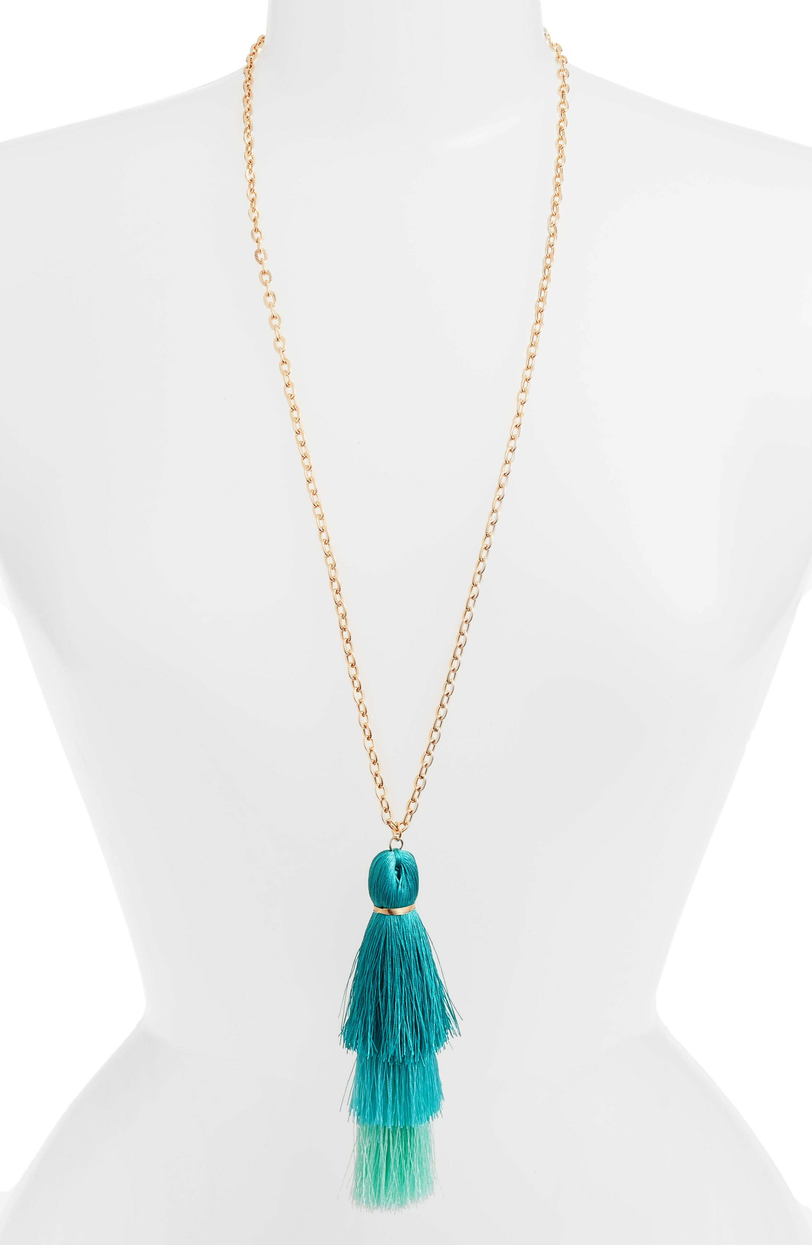 Tiered Tassel Necklace,                         Main,                         color, Gold/ Turquoise