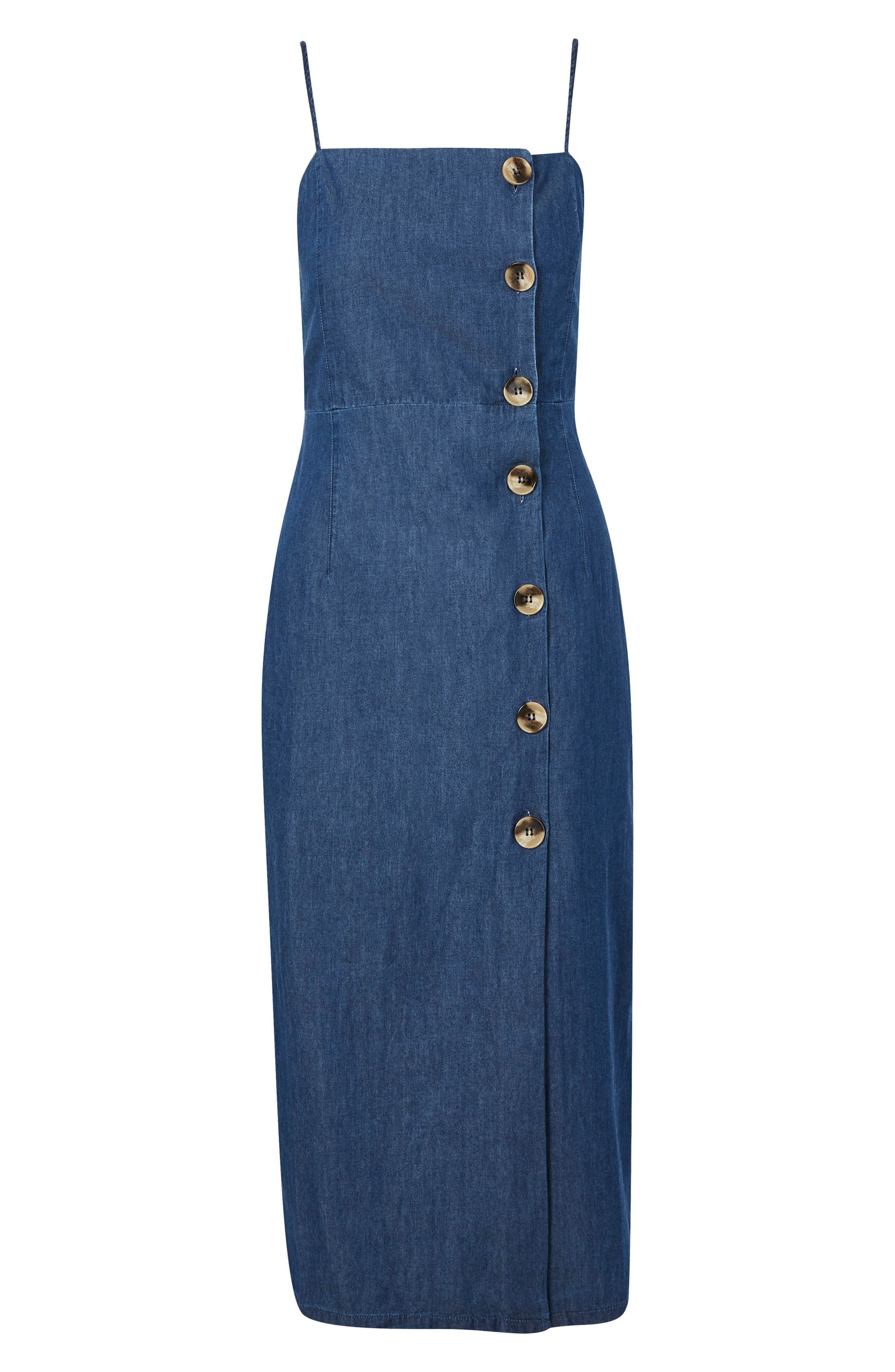 Horn Button Midi Dress,                             Alternate thumbnail 5, color,                             Mid Denim