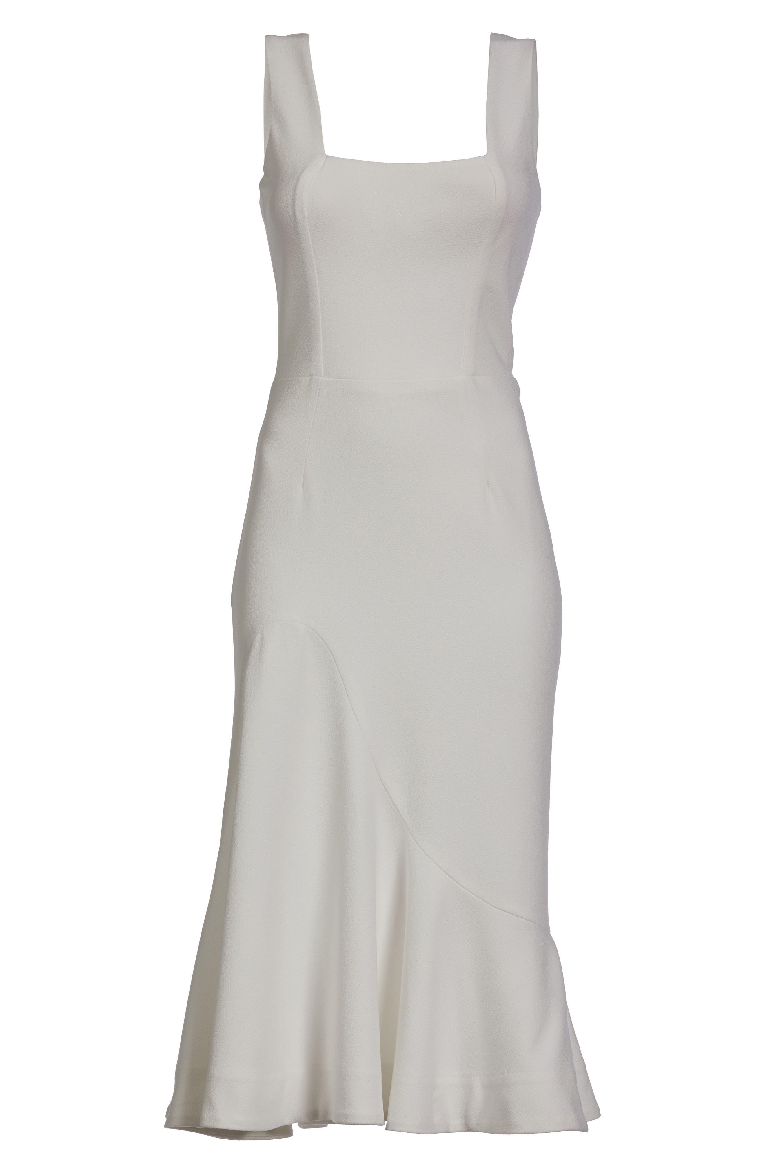 Monica Tea Length Trumpet Dress,                             Alternate thumbnail 4, color,                             Off White