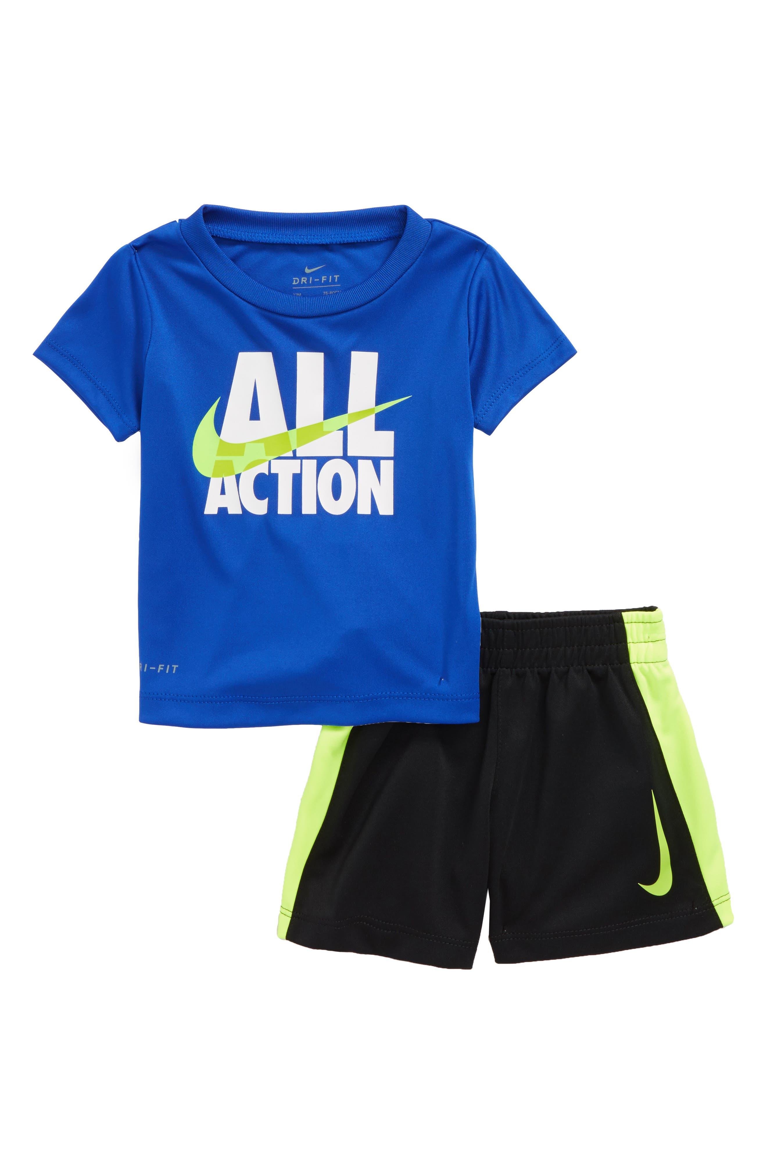 All Action Dry T-Shirt & Shorts Set,                             Main thumbnail 1, color,                             Hyper Royal