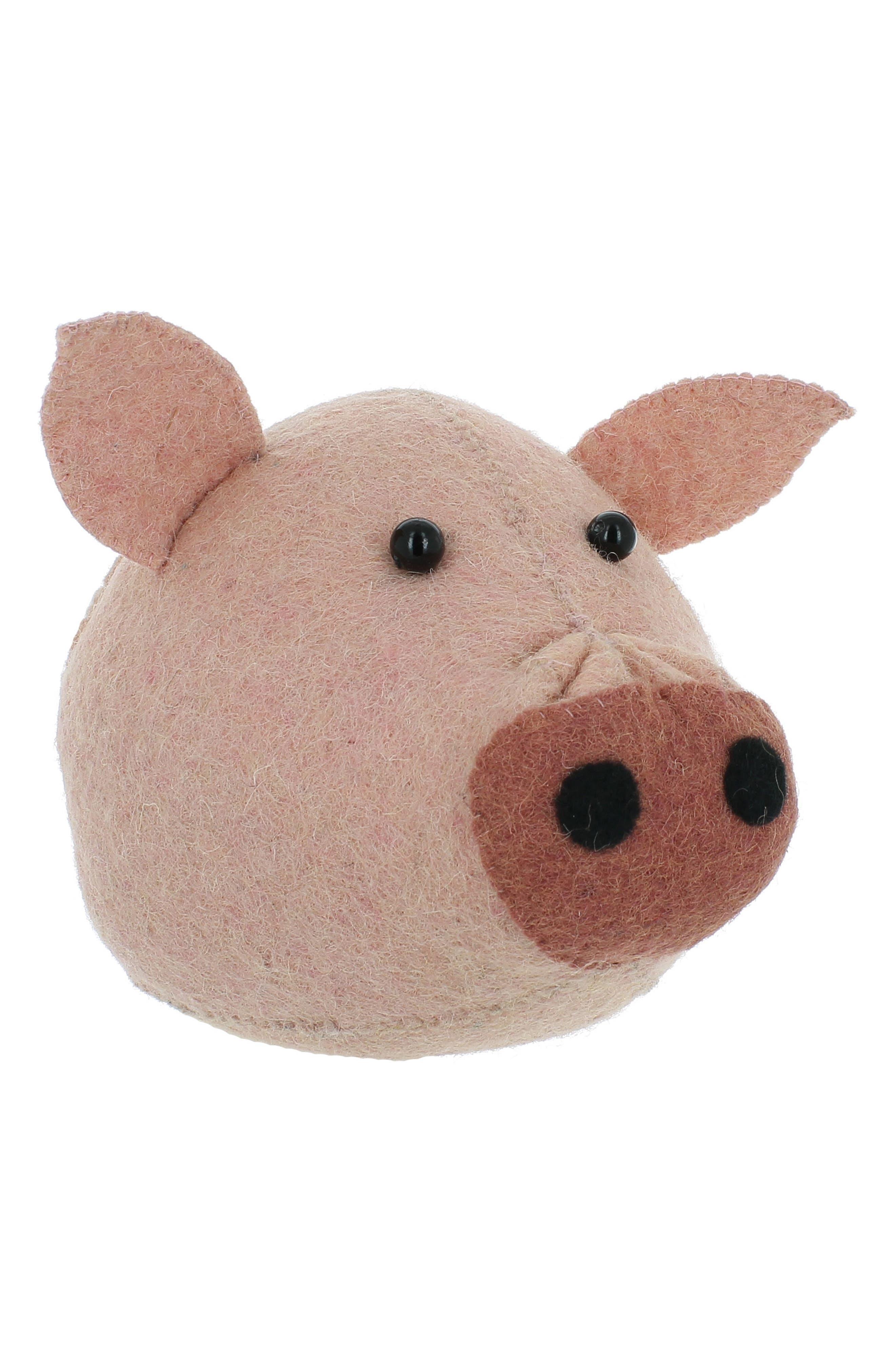 Mini Pig Head Wall Art,                         Main,                         color, Pink