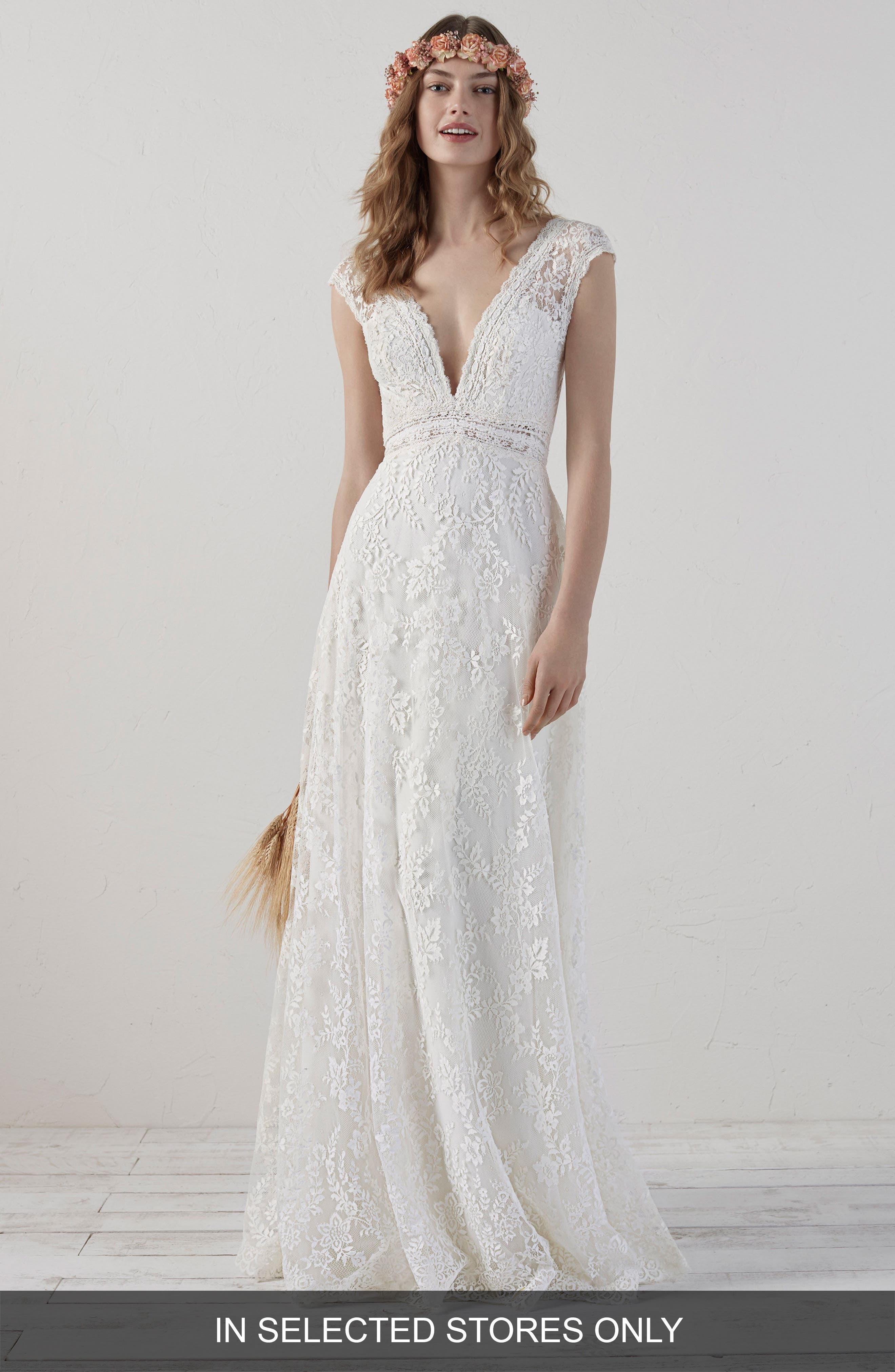 Ederne Boho Keyhole Back Lace Gown,                             Main thumbnail 1, color,                             Off White