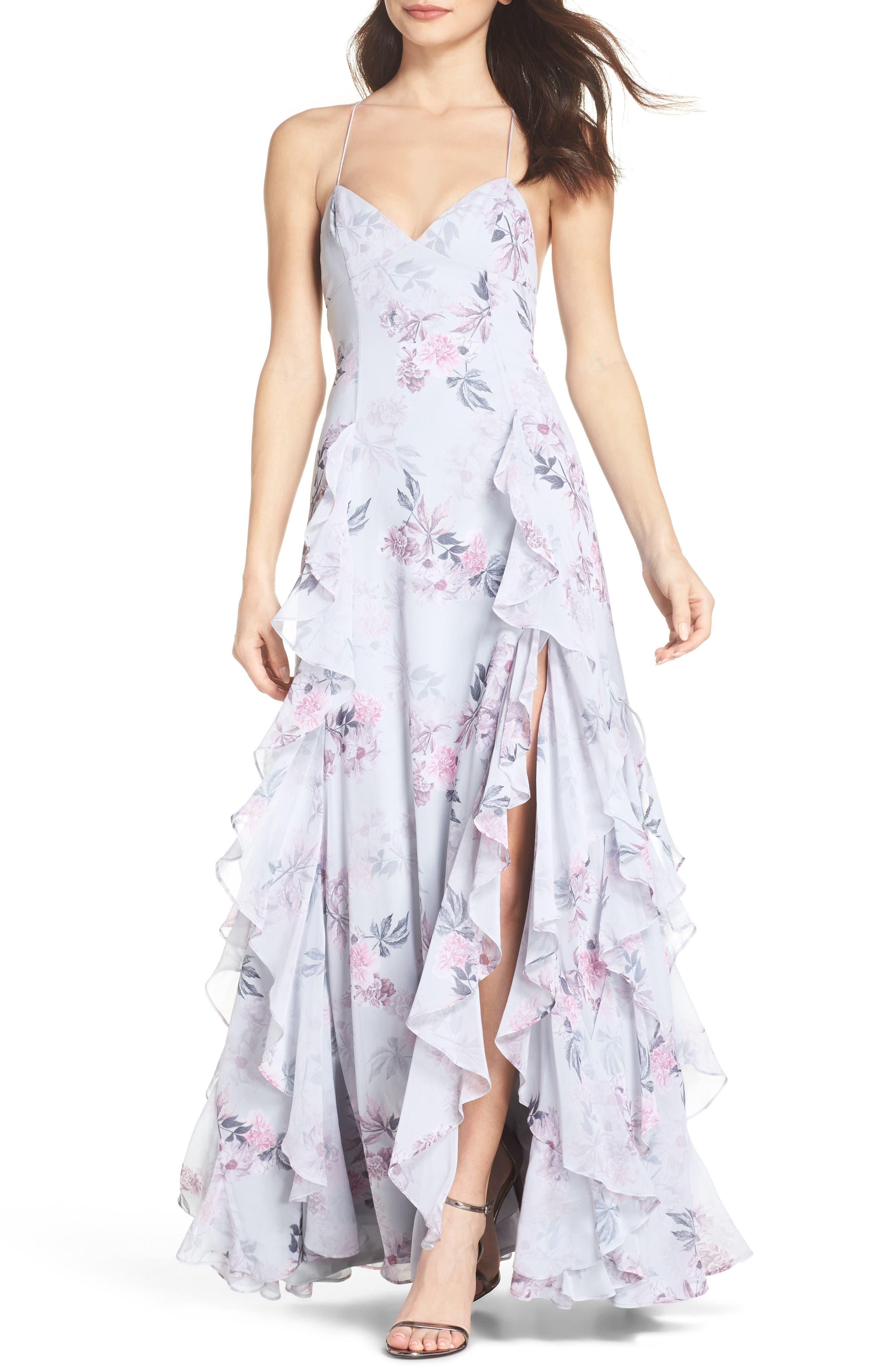 Nav Ruffle Gown,                             Main thumbnail 1, color,                             Dream Floral