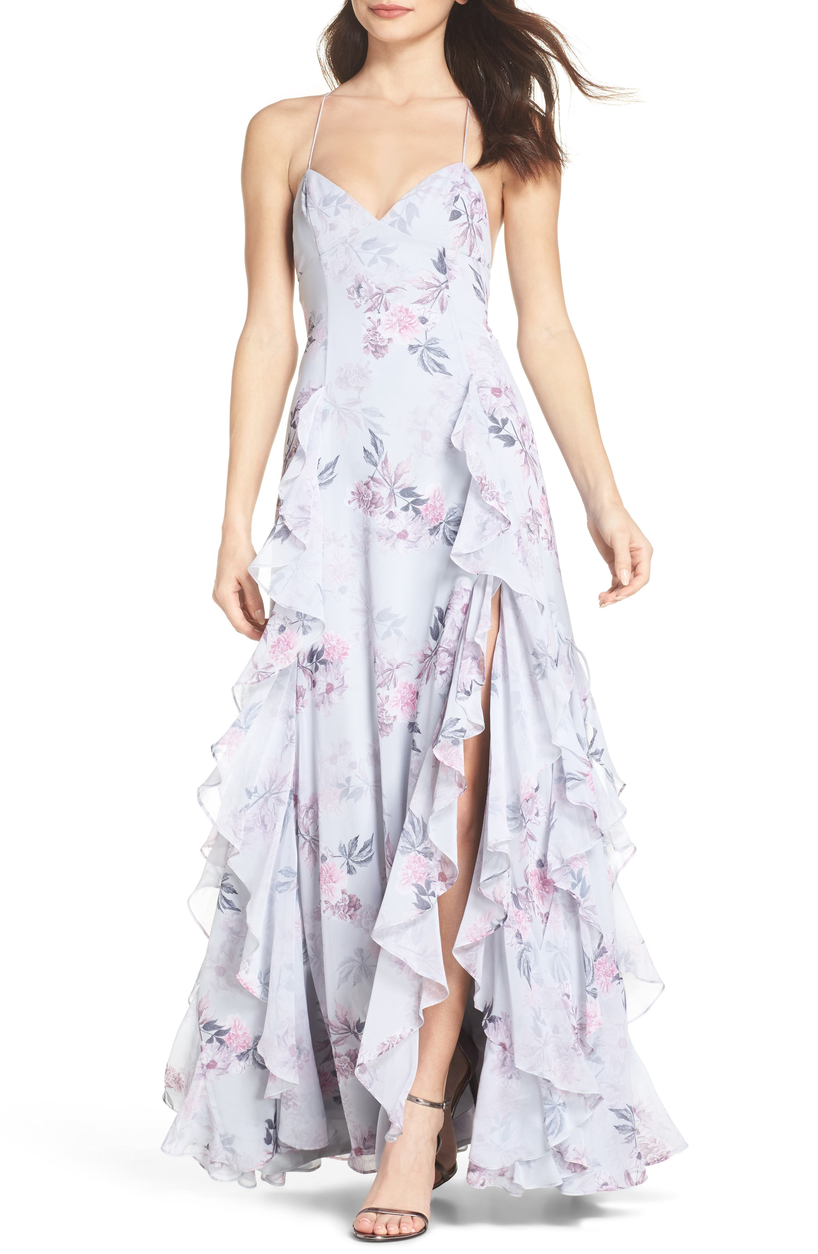 Nav Ruffle Gown,                         Main,                         color, Dream Floral