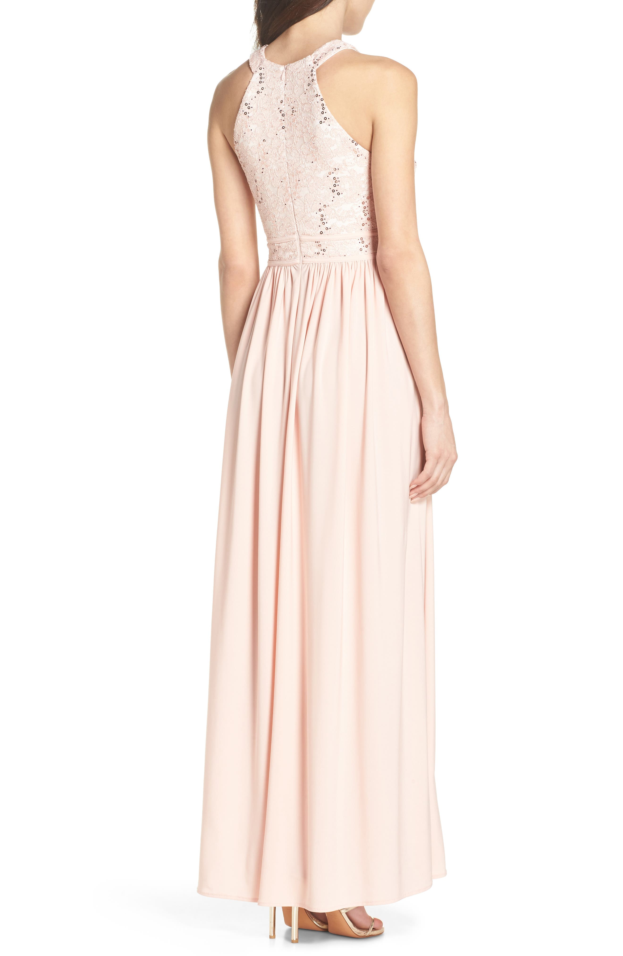Lace Bodice Keyhole Gown,                             Alternate thumbnail 2, color,                             Blush/ Ivory