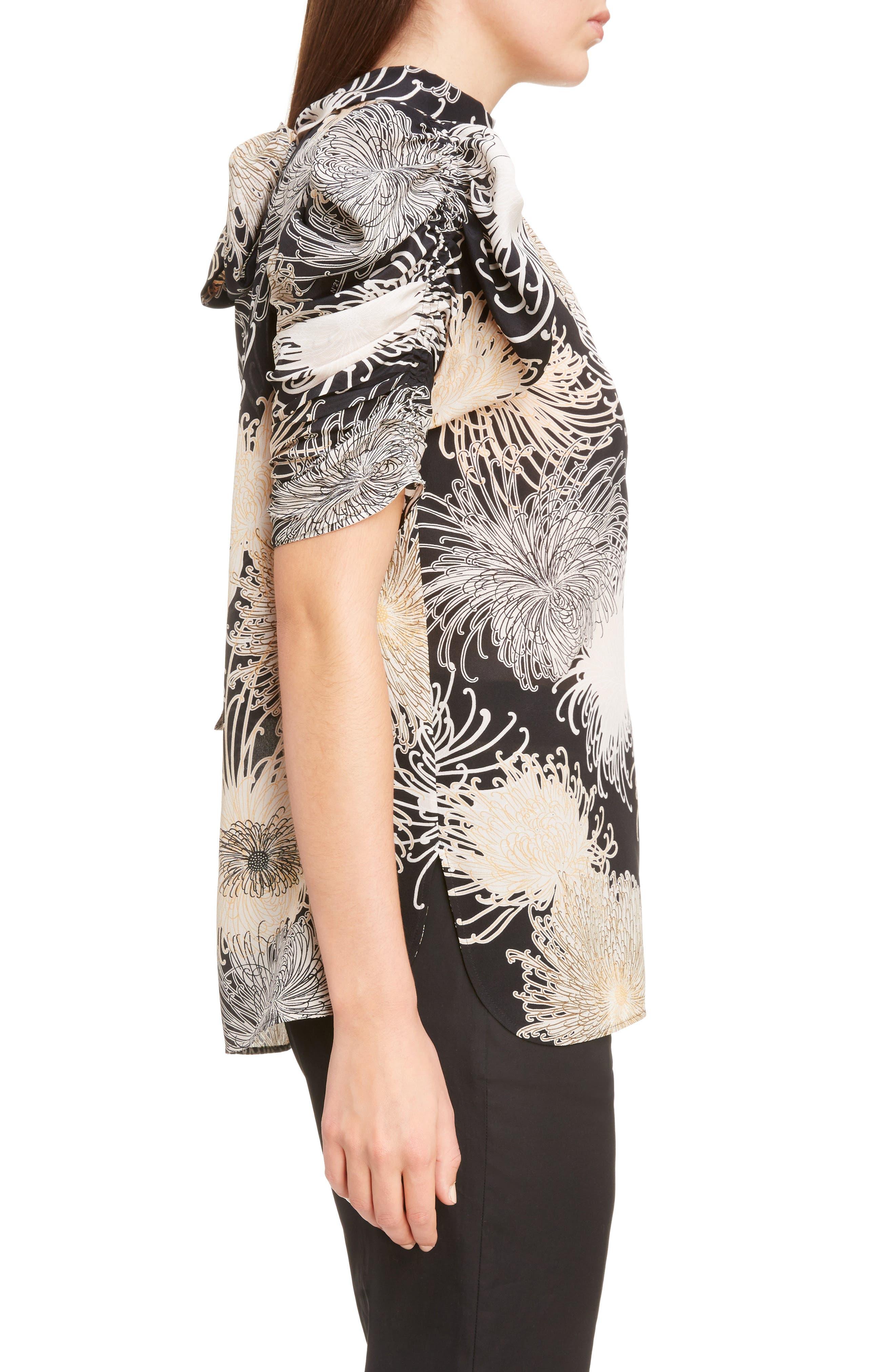 Nº21 Floral Print Tie Back Silk Top,                             Alternate thumbnail 3, color,                             Black