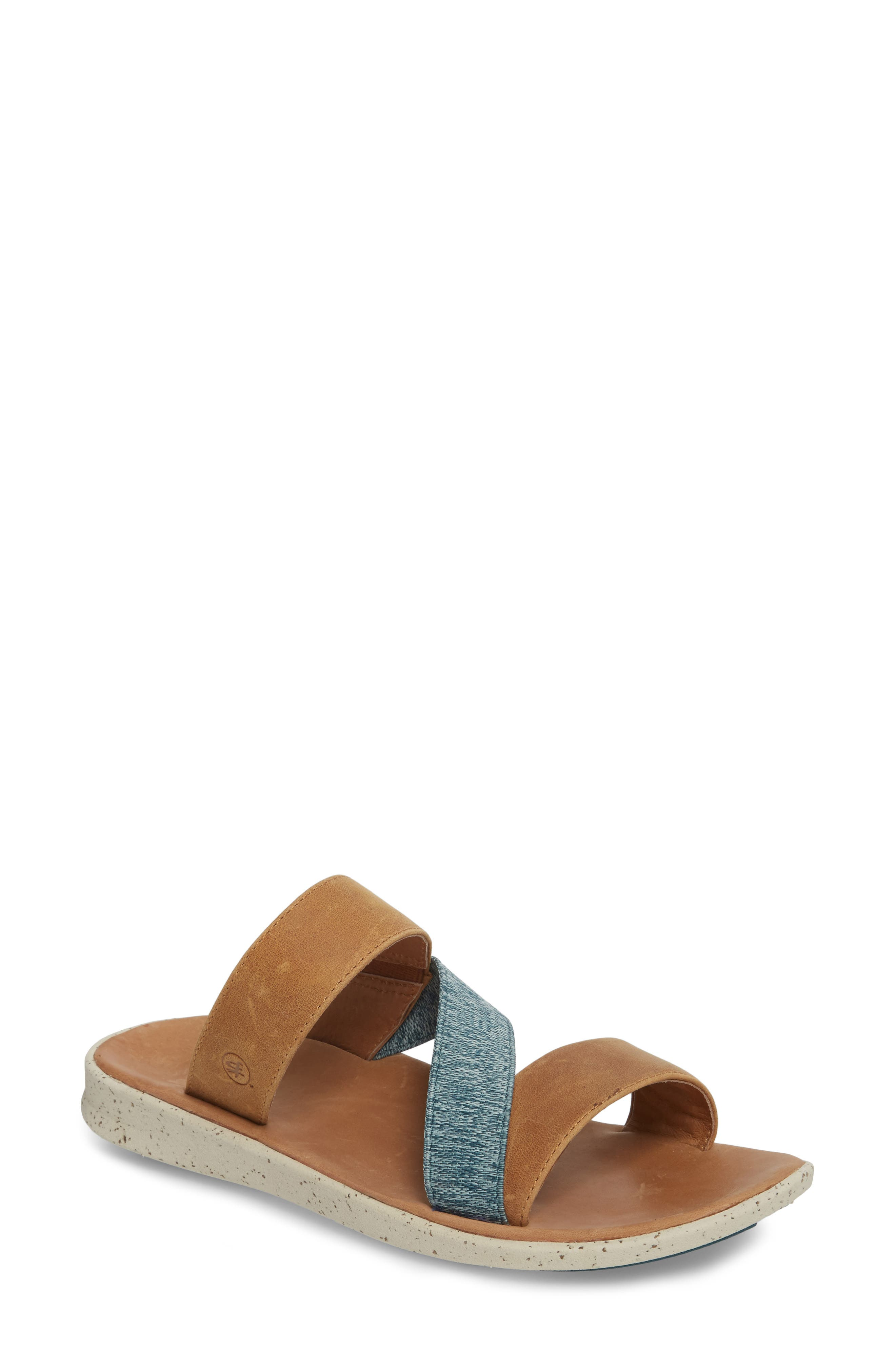Reyes Slide Sandal,                             Main thumbnail 1, color,                             Brown Leather