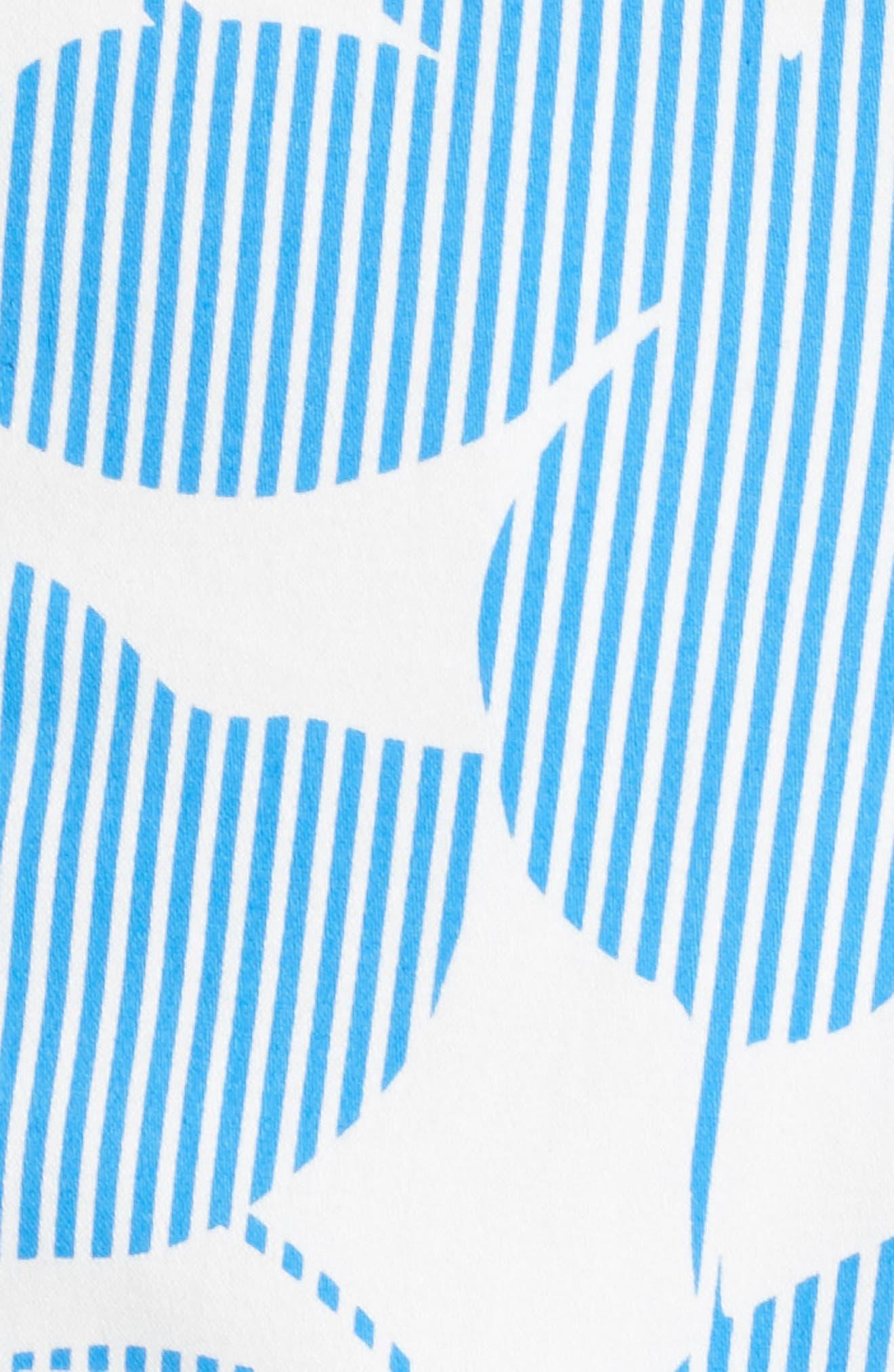 Print Fit & Flare Dress,                             Alternate thumbnail 6, color,                             Soft White/ Sky Blue