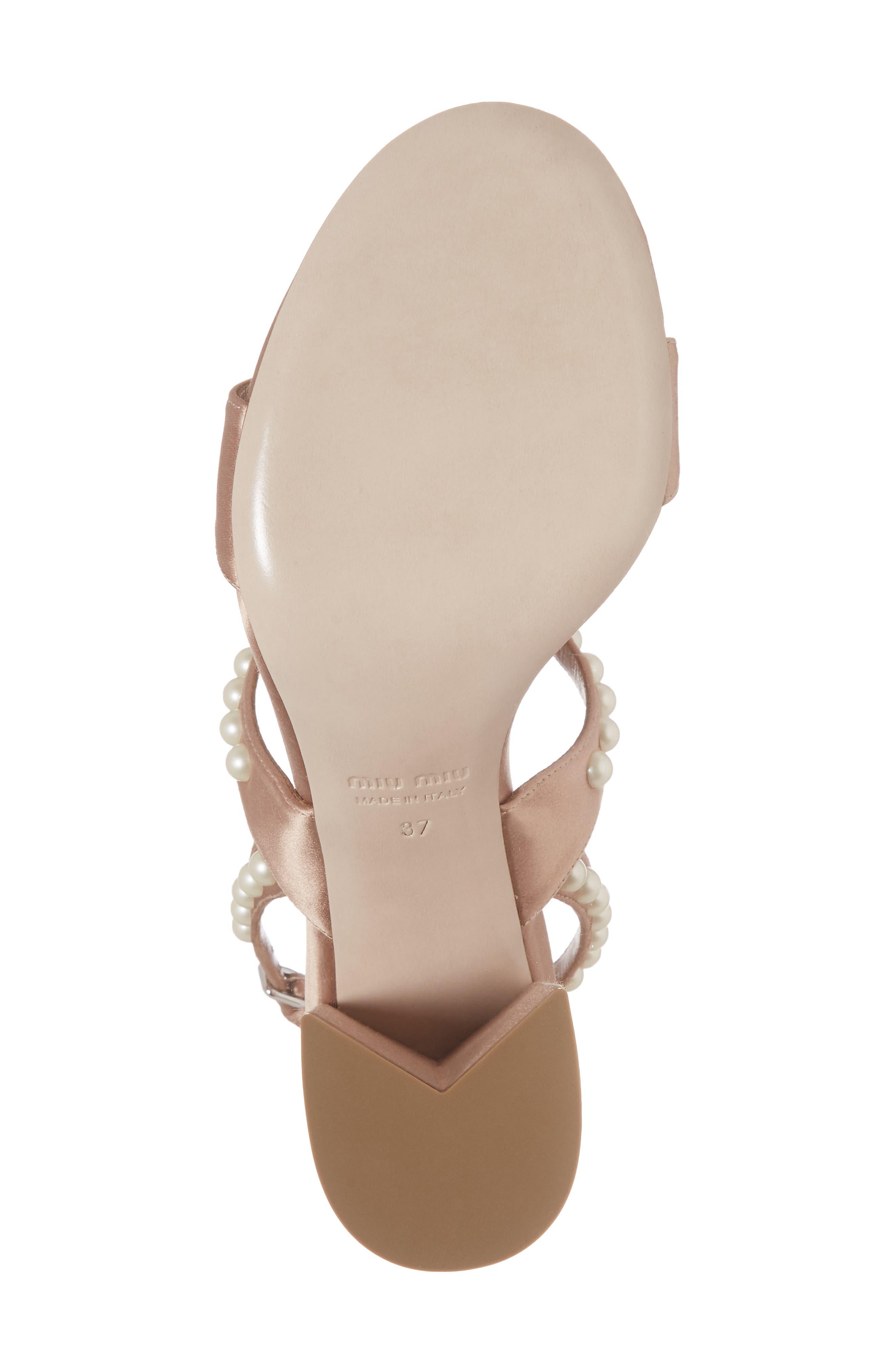 Imitation Pearl Slingback Sandal,                             Alternate thumbnail 6, color,                             Nude