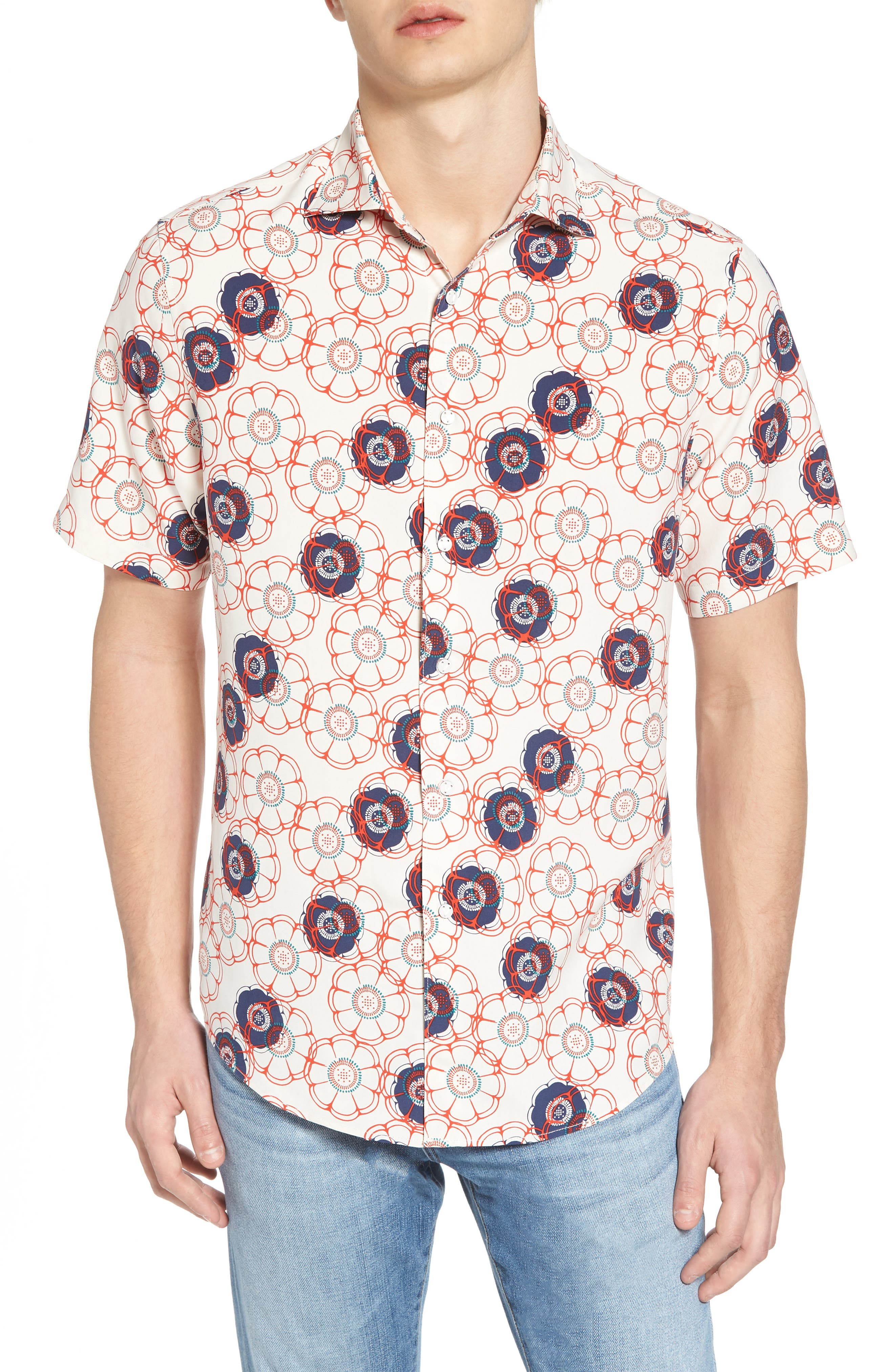 Tailor Fit Floral Print Silk Shirt,                         Main,                         color, Canvas/ Red Coral