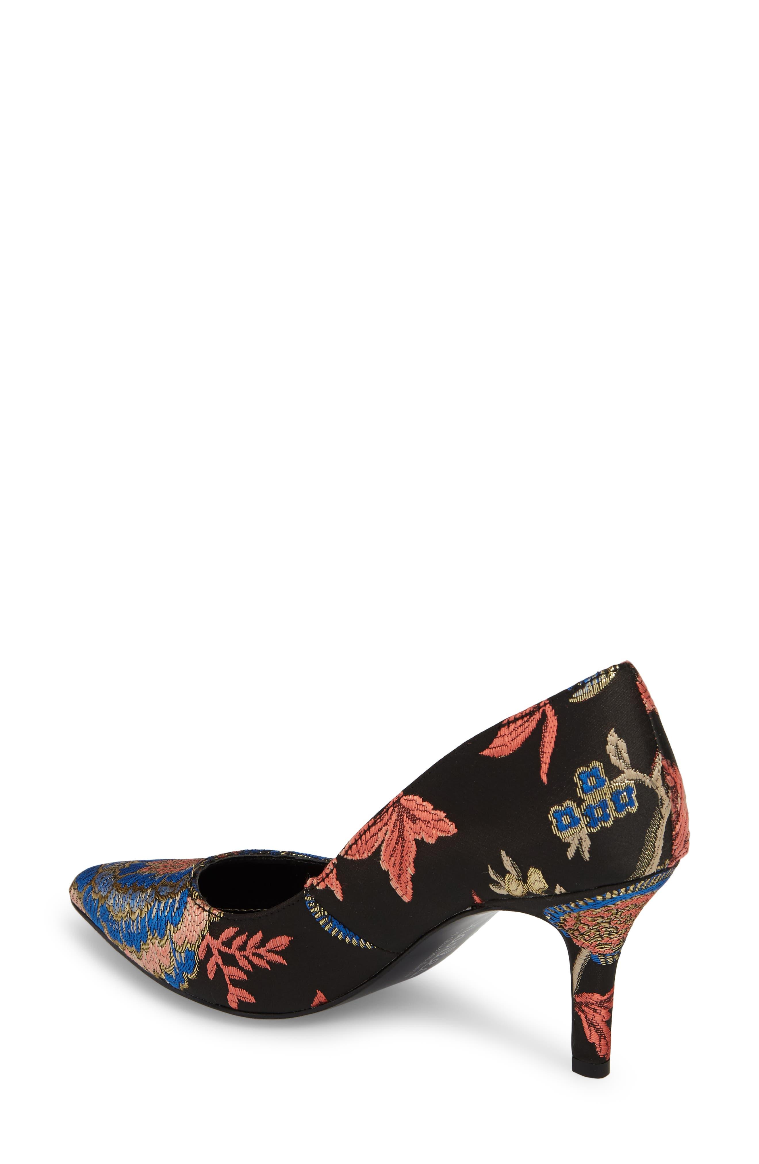 'Sasha' Pointy Toe Pump,                             Alternate thumbnail 2, color,                             Black Floral Print Fabric