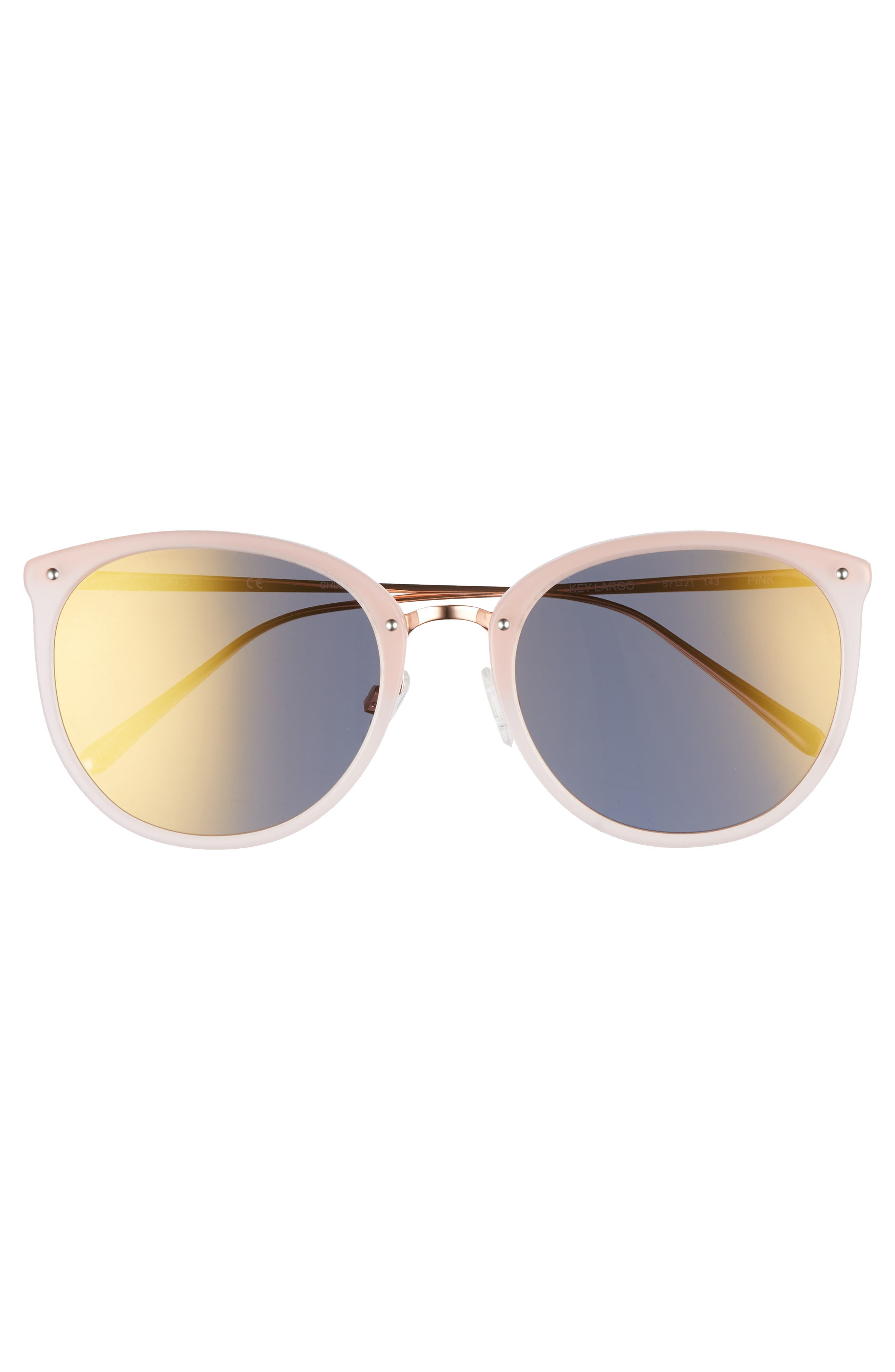 Key Largo 57mm Sunglasses,                             Alternate thumbnail 3, color,                             Milky Pink