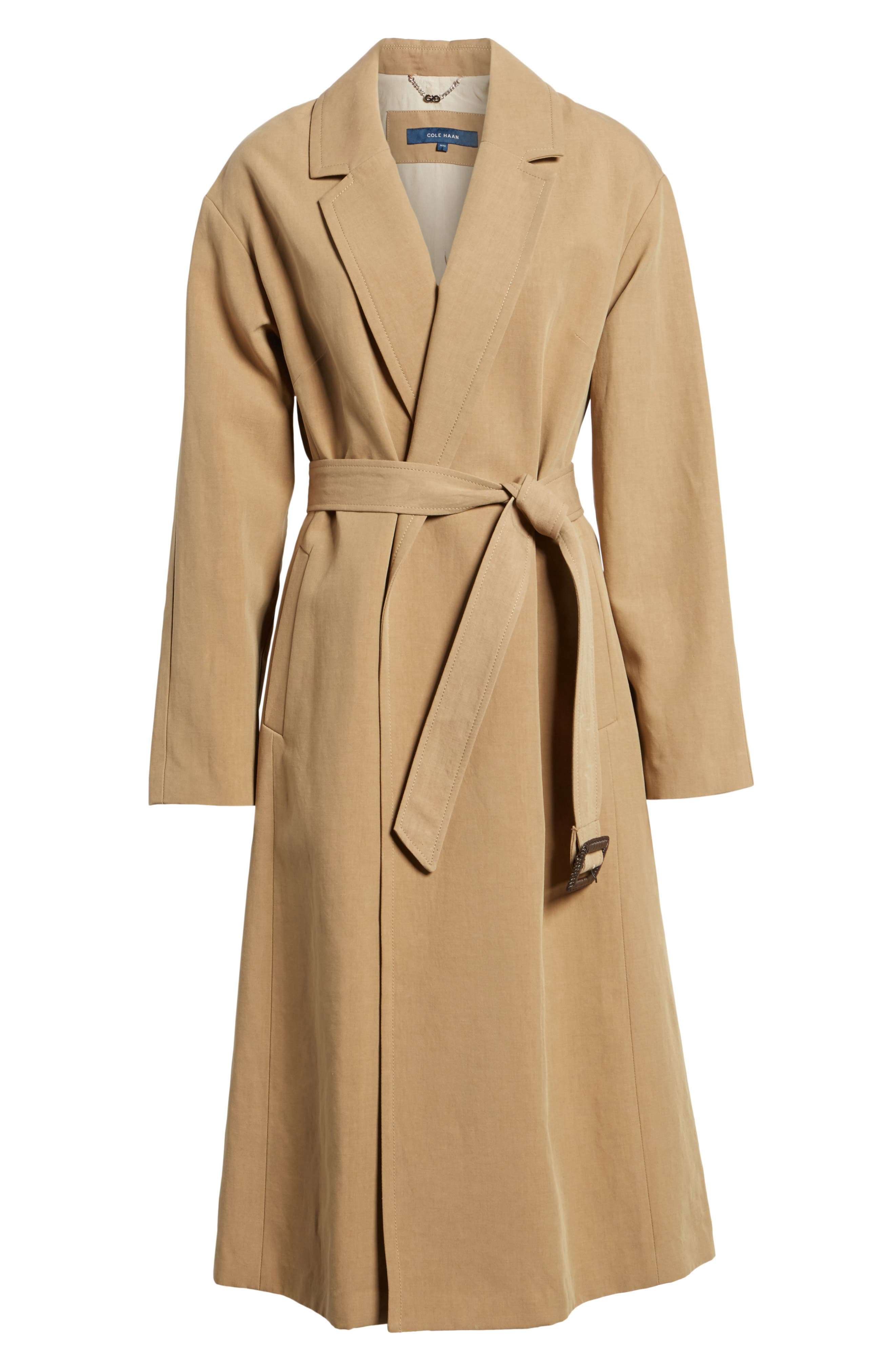 Double Face Wrap Maxi Jacket,                             Alternate thumbnail 6, color,                             Toffee