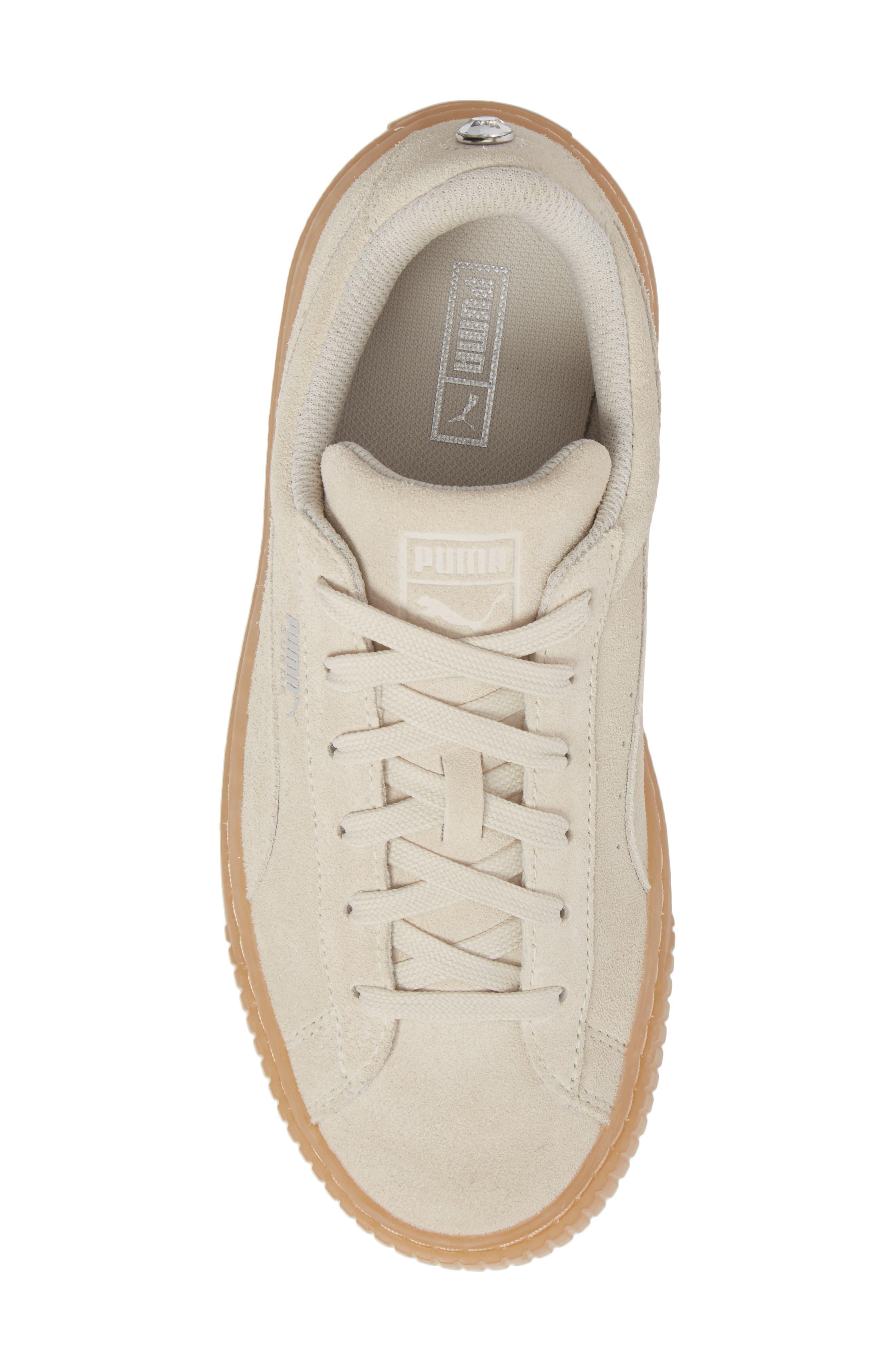 Jewel Suede Platform Sneaker,                             Alternate thumbnail 5, color,                             Whisper White/ Whisper White
