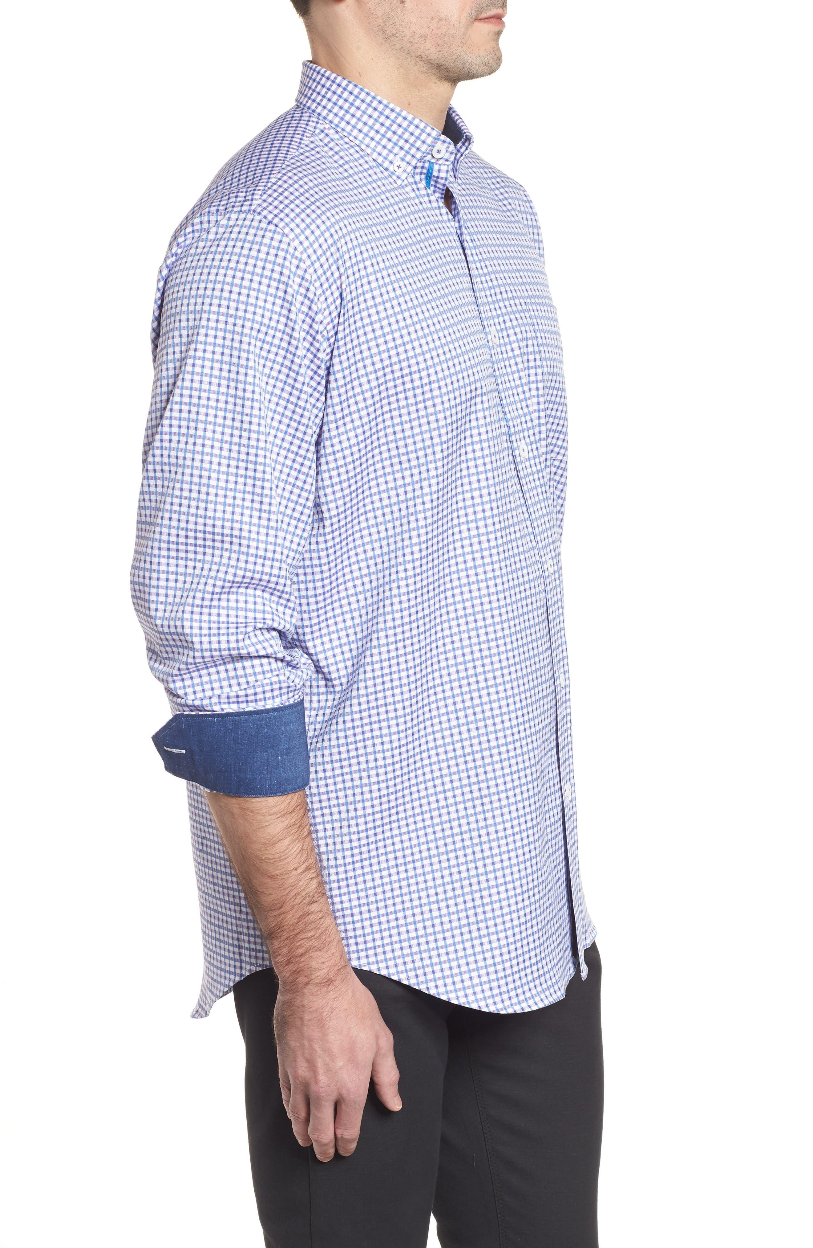 Classic Fit Microcheck Sport Shirt,                             Alternate thumbnail 3, color,                             Plum