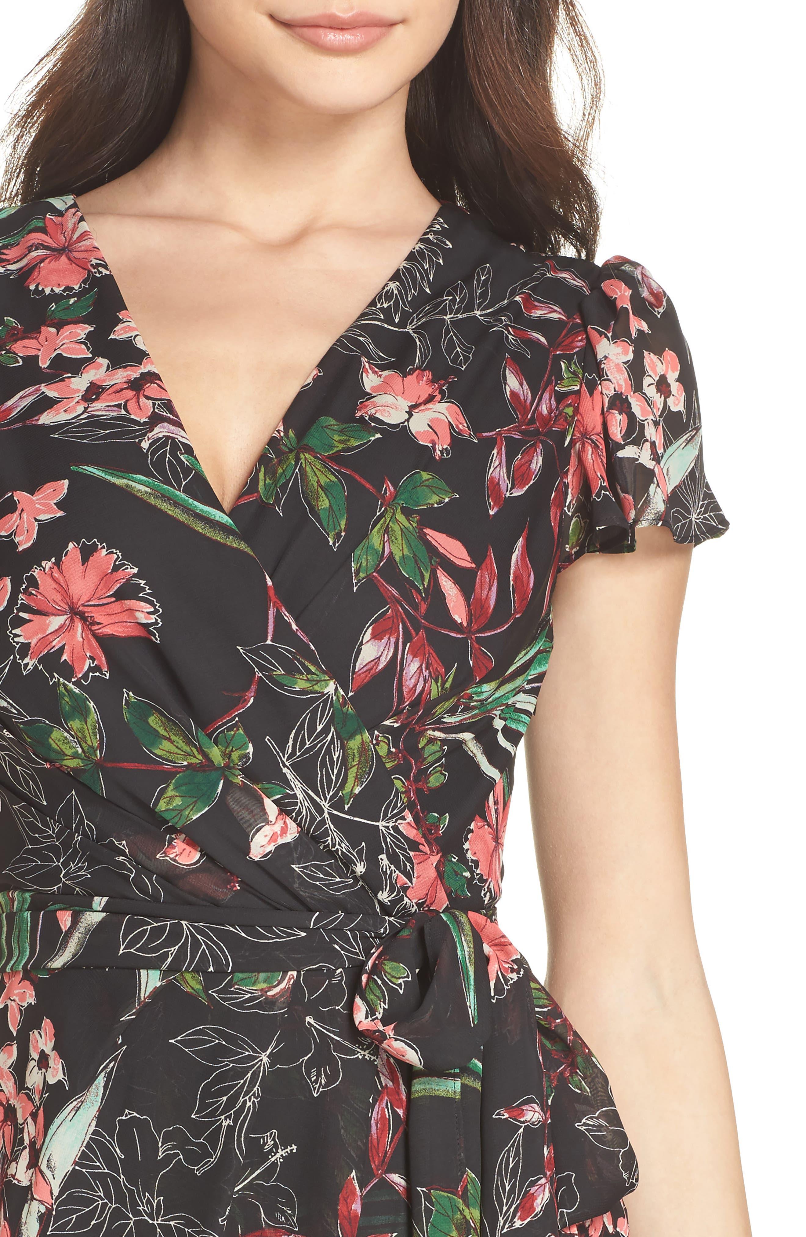 Chiffon Faux Wrap Dress,                             Alternate thumbnail 4, color,                             Black Multi