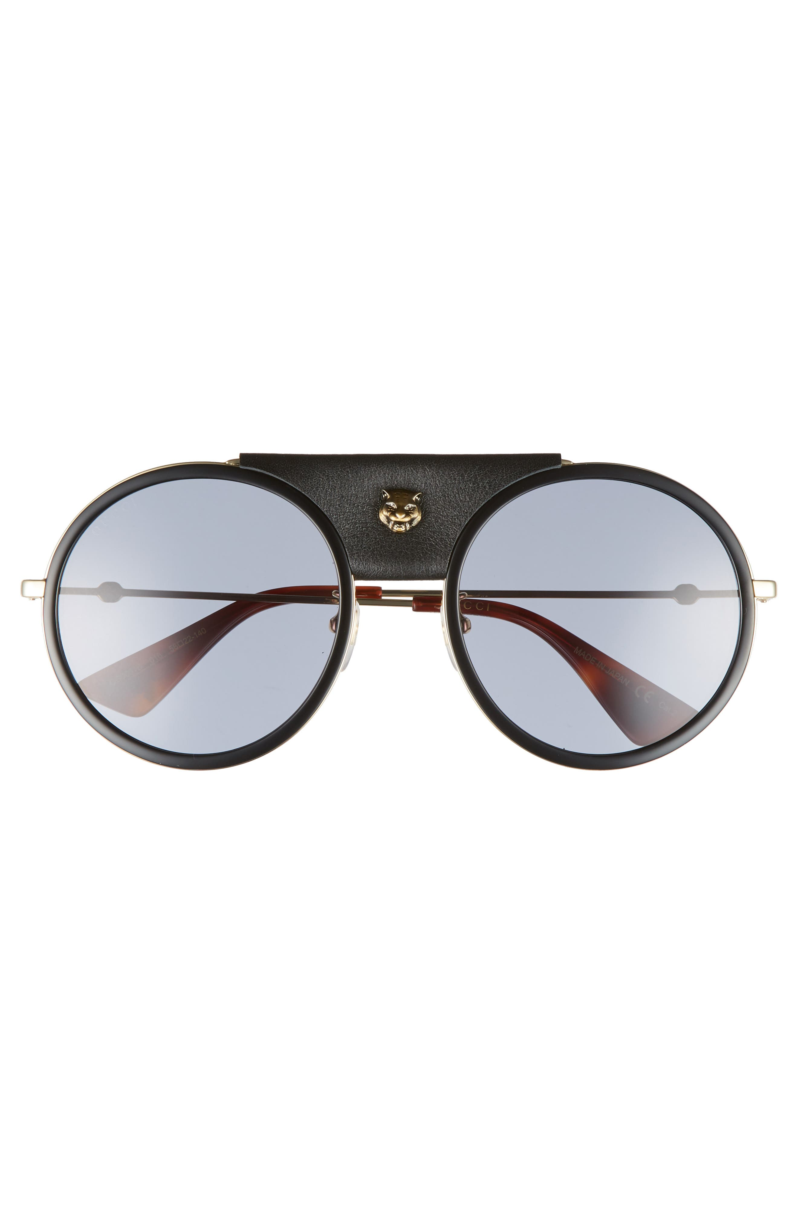 Alternate Image 3  - Gucci 56mm Leather Bridge Aviator Sunglasses