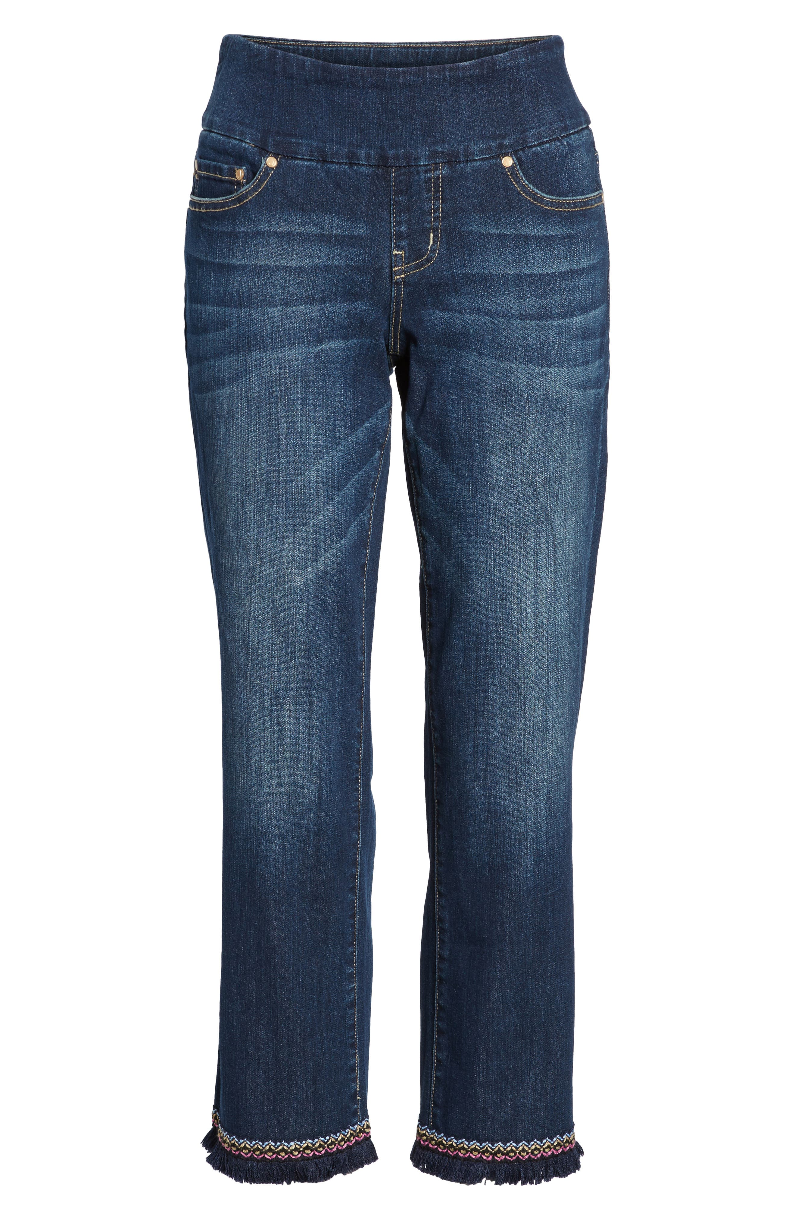 Peri Embroidery Fringe Jeans,                             Alternate thumbnail 7, color,                             Med Indigo