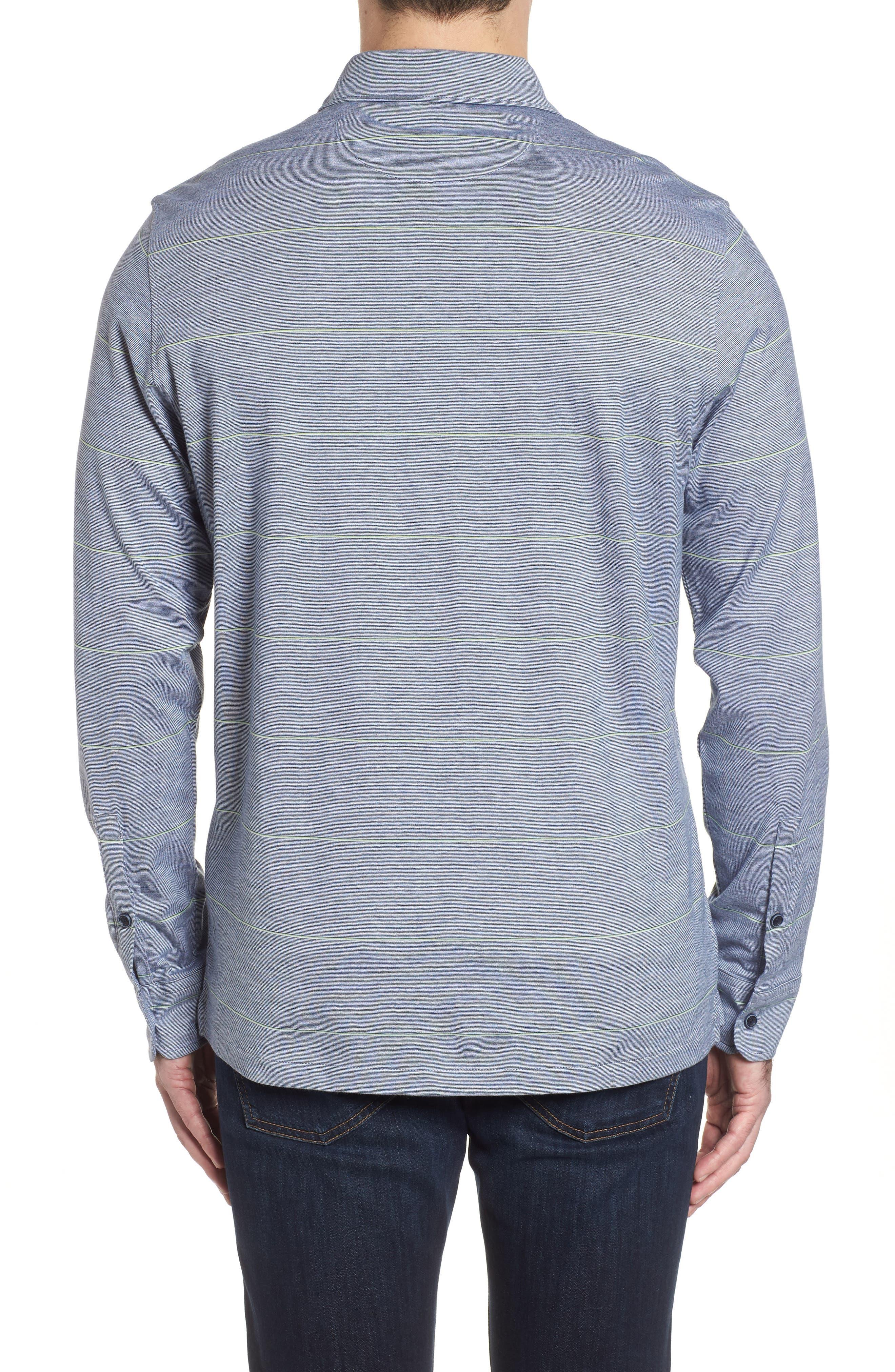 Regular Fit Stripe Knit Sport Shirt,                             Alternate thumbnail 2, color,                             Platinum