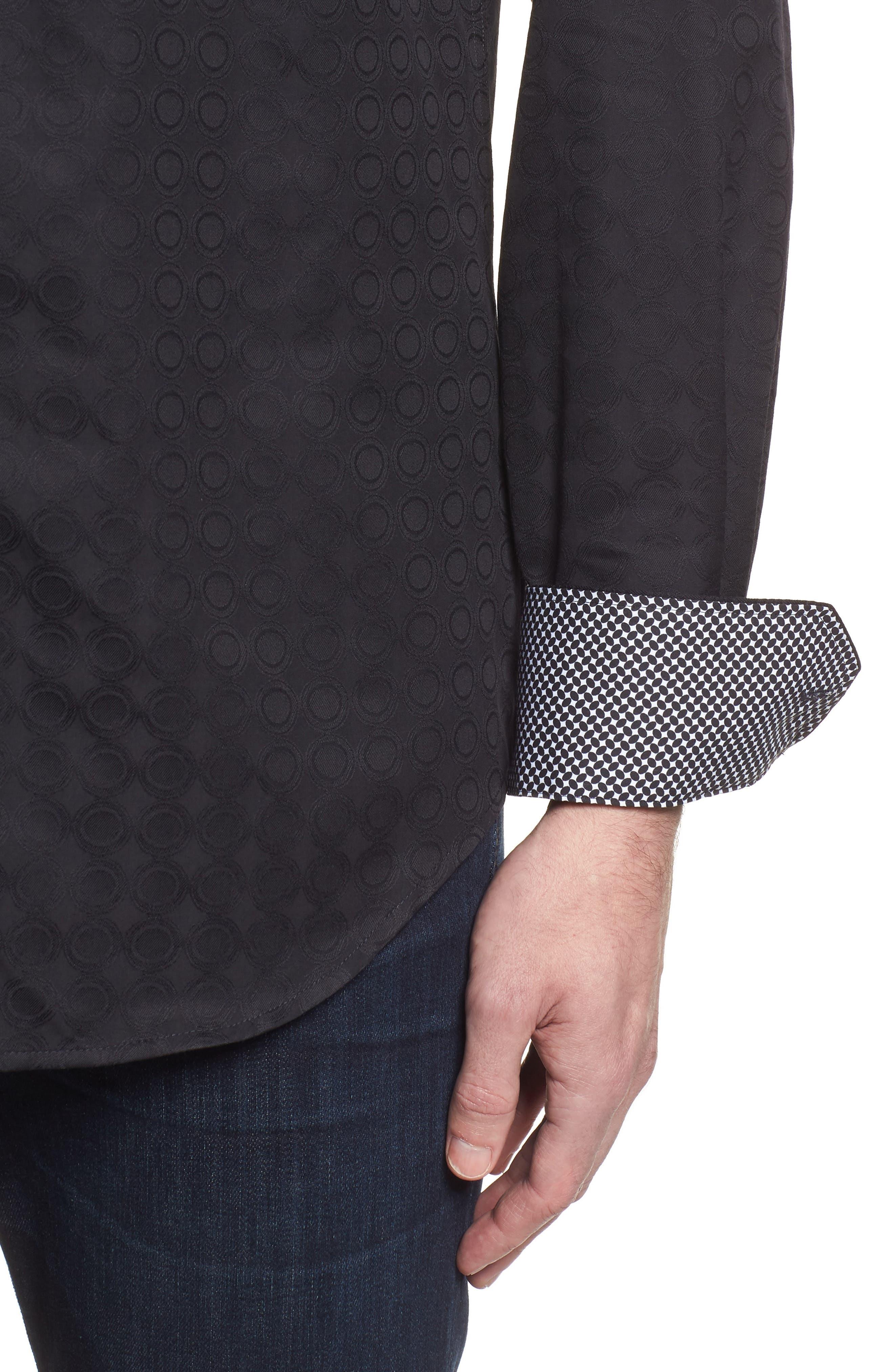 Shaped Fit Circle Print Sport Shirt,                             Alternate thumbnail 4, color,                             Black