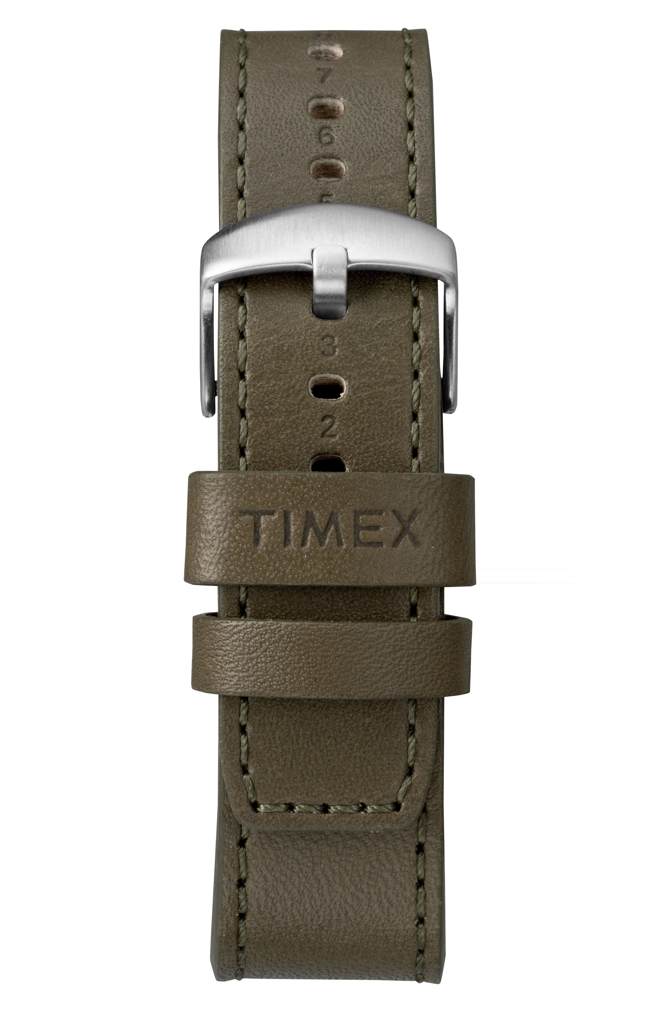 Timex Waterbury Chronograph Leather Strap Watch, 42mm,                             Alternate thumbnail 3, color,                             Olive/ Cream/ Silver