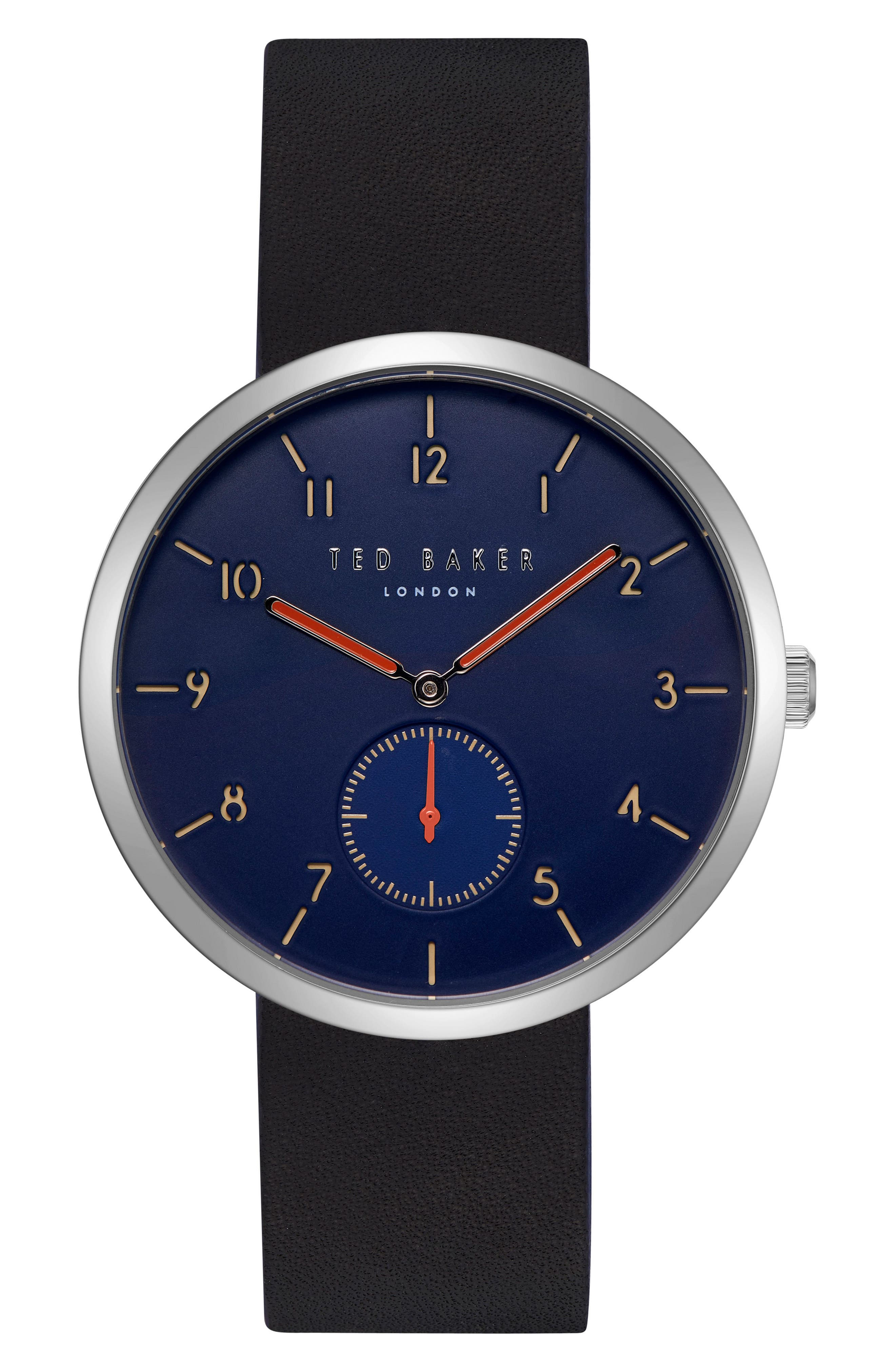 Josh Leather Strap Watch, 42mm,                         Main,                         color, Dark Blue/ Black