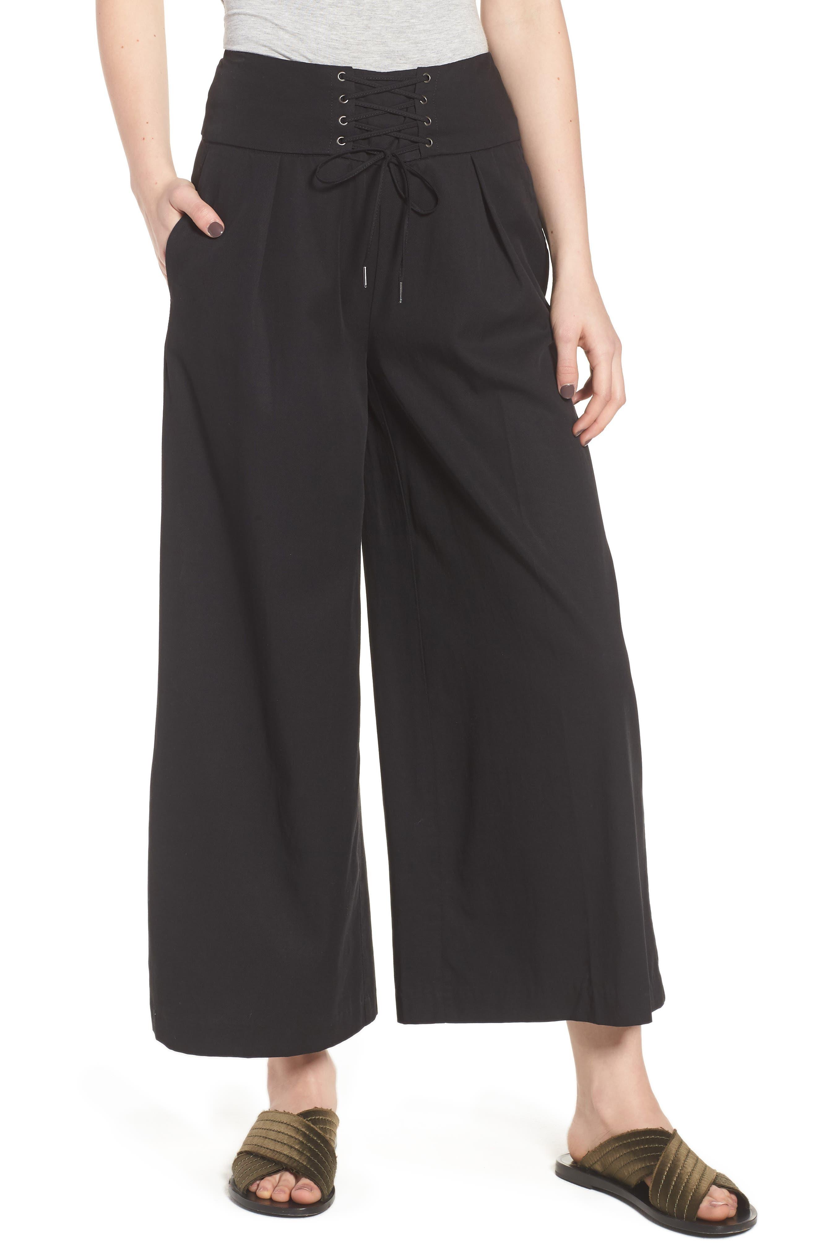 Charisma Lace-Up Wide Leg Pants,                         Main,                         color, Black