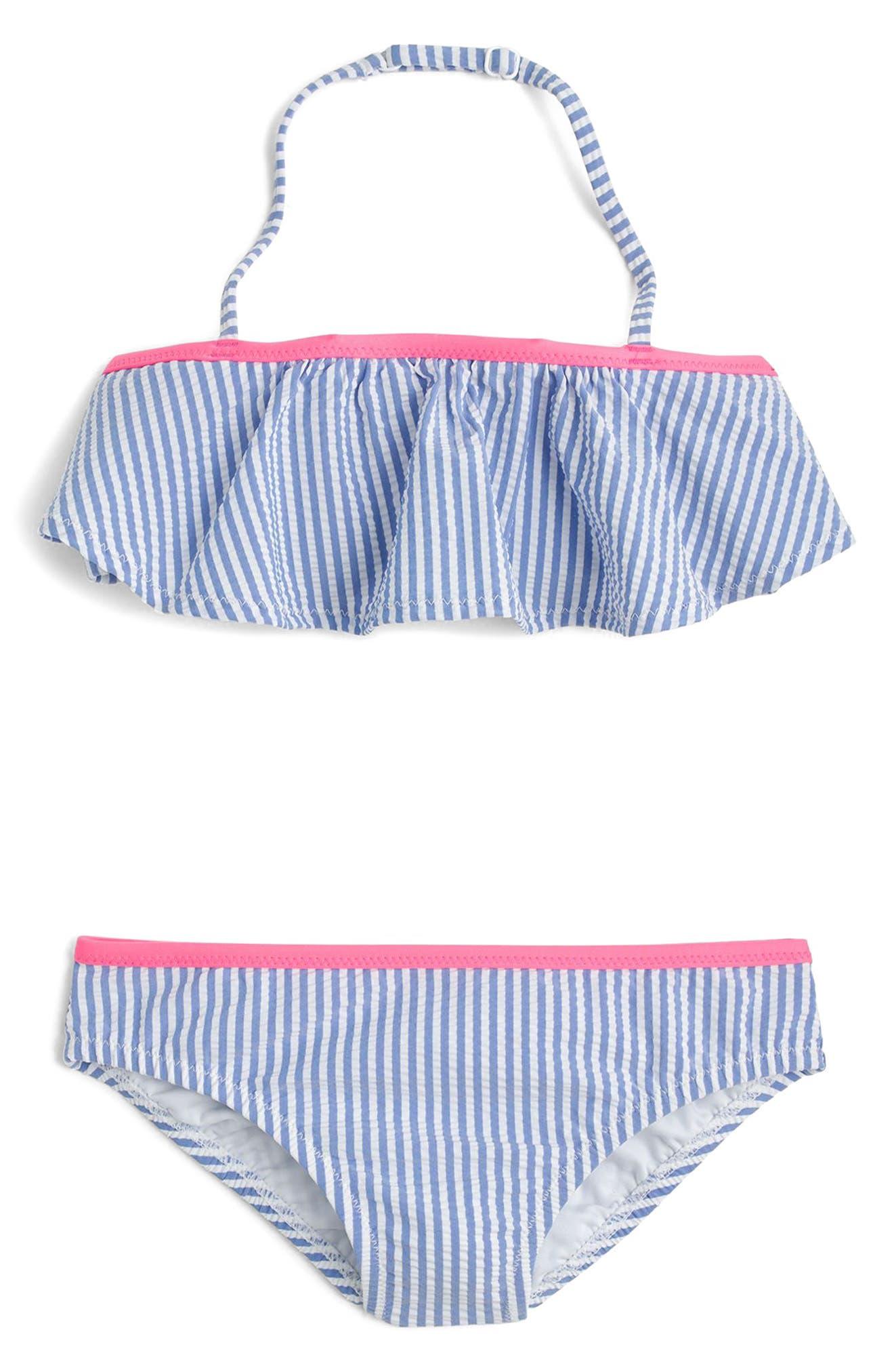 Ruffled Seersucker Two-Piece Bikini Swimsuit,                         Main,                         color, Blue Pink Multi