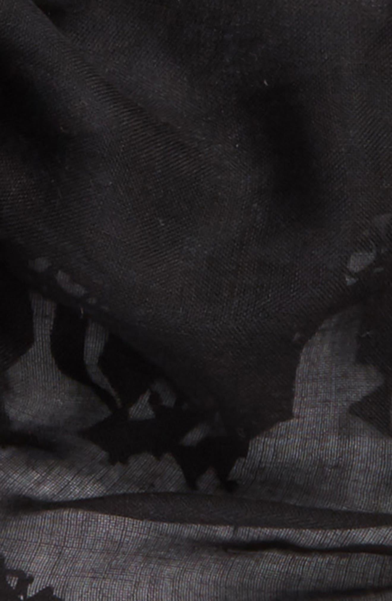 Fringed Cashmere & Silk Scarf,                             Alternate thumbnail 3, color,                             Black