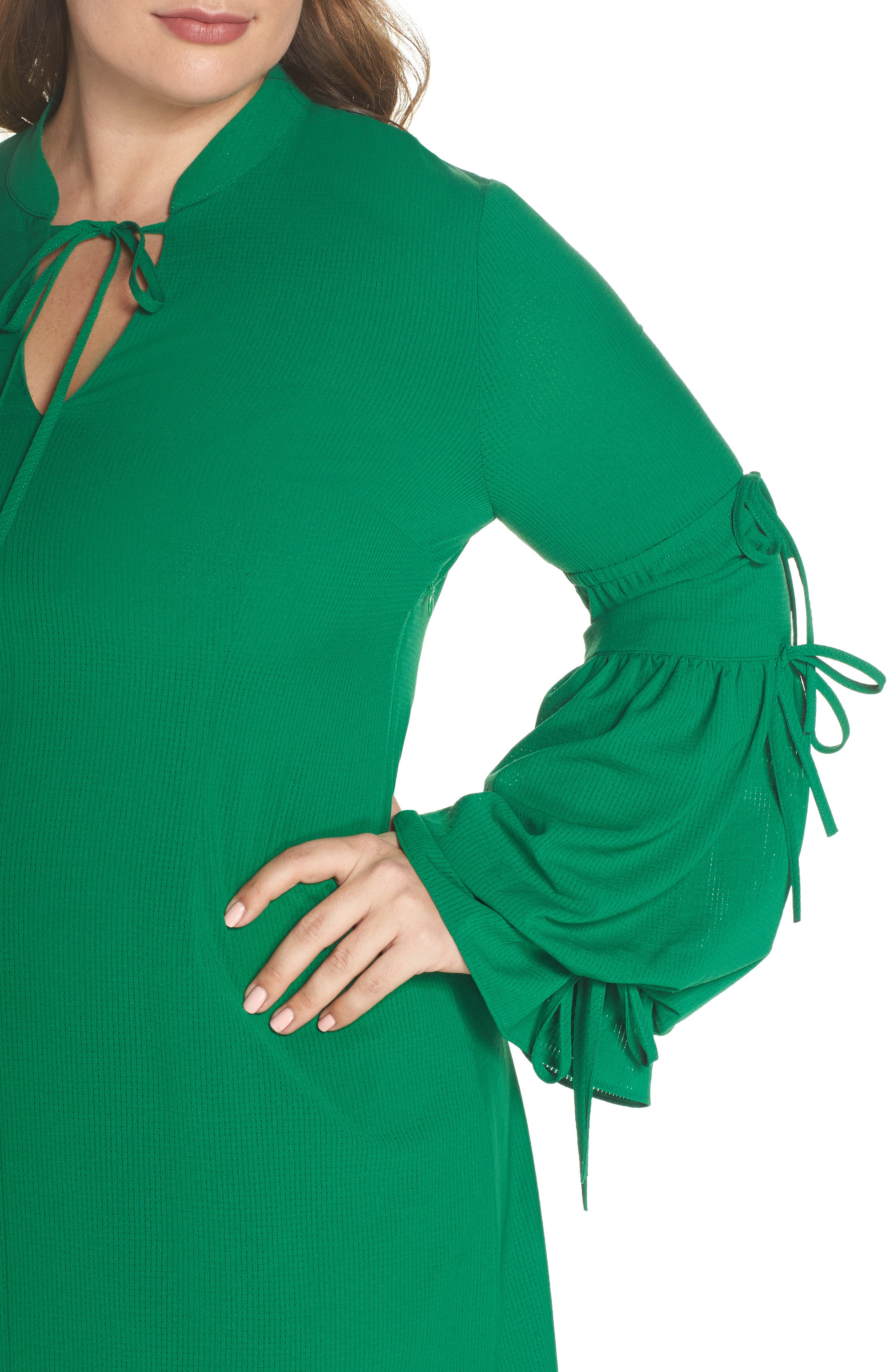 Leiko Antoinette Puff Sleeve Tea Dress,                             Alternate thumbnail 5, color,                             Green