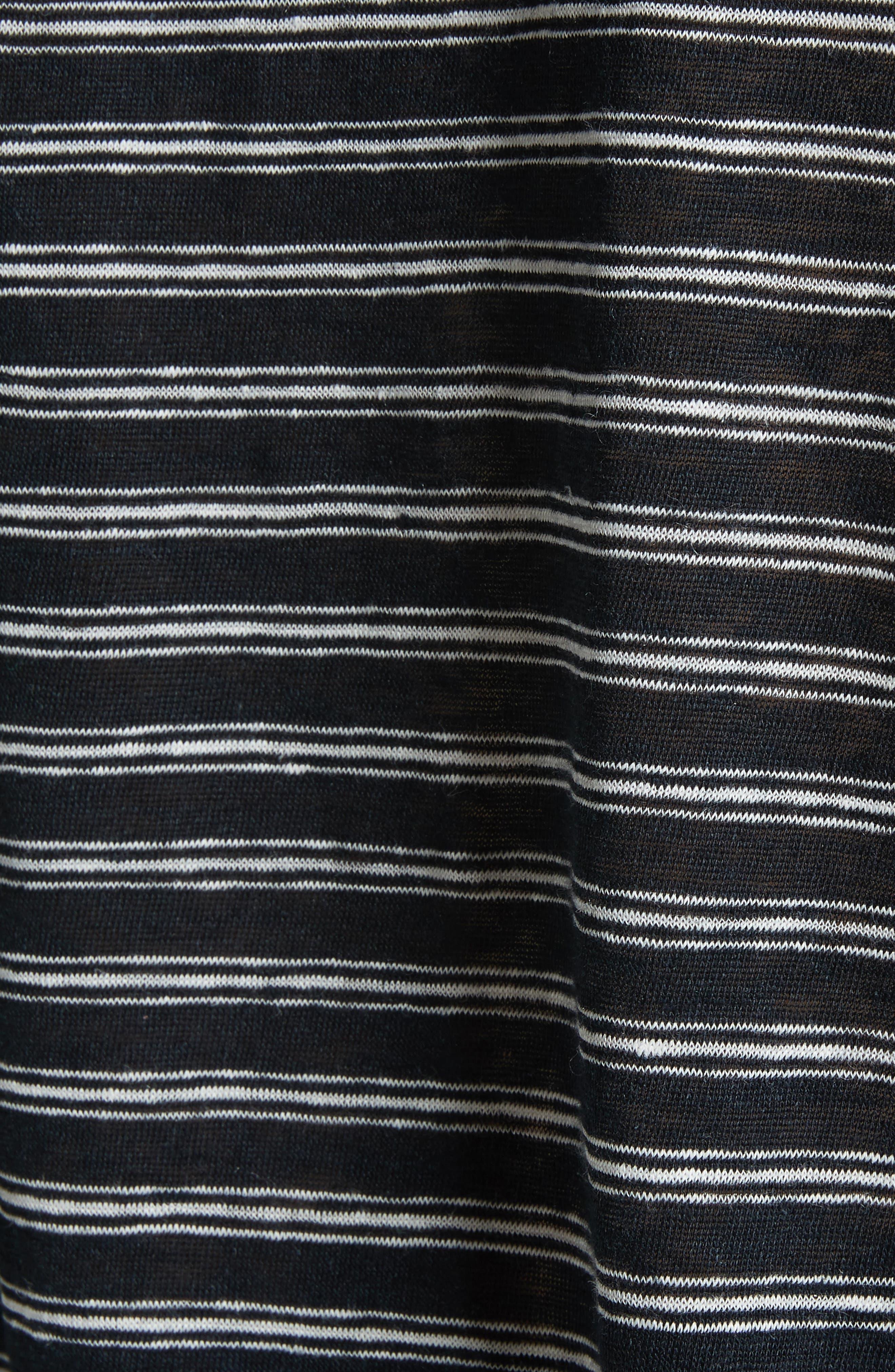 Stripe Linen Knit Top,                             Alternate thumbnail 5, color,                             Caviar/ Porcelain