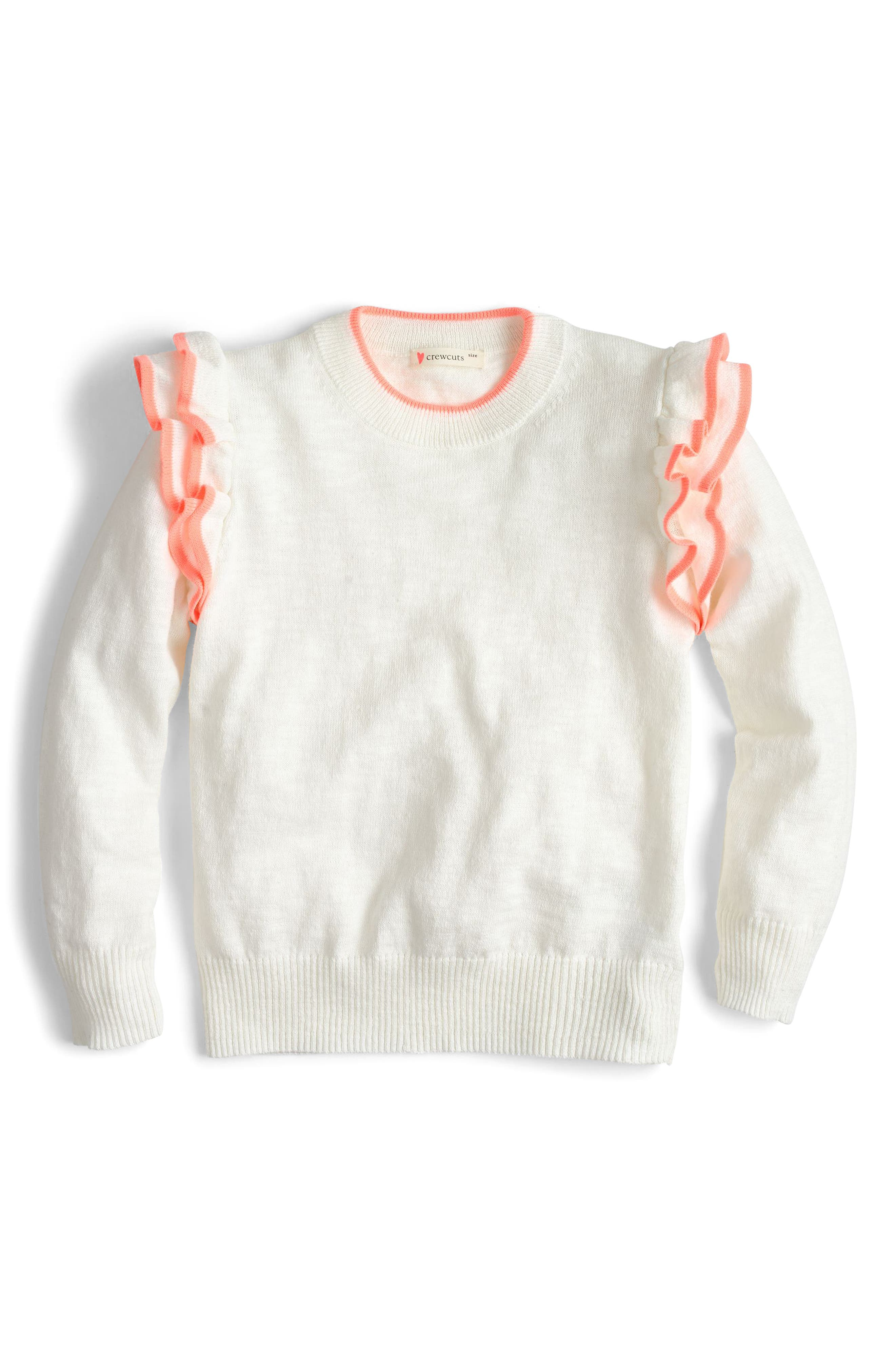 Ruffle Popover Sweater,                         Main,                         color, White