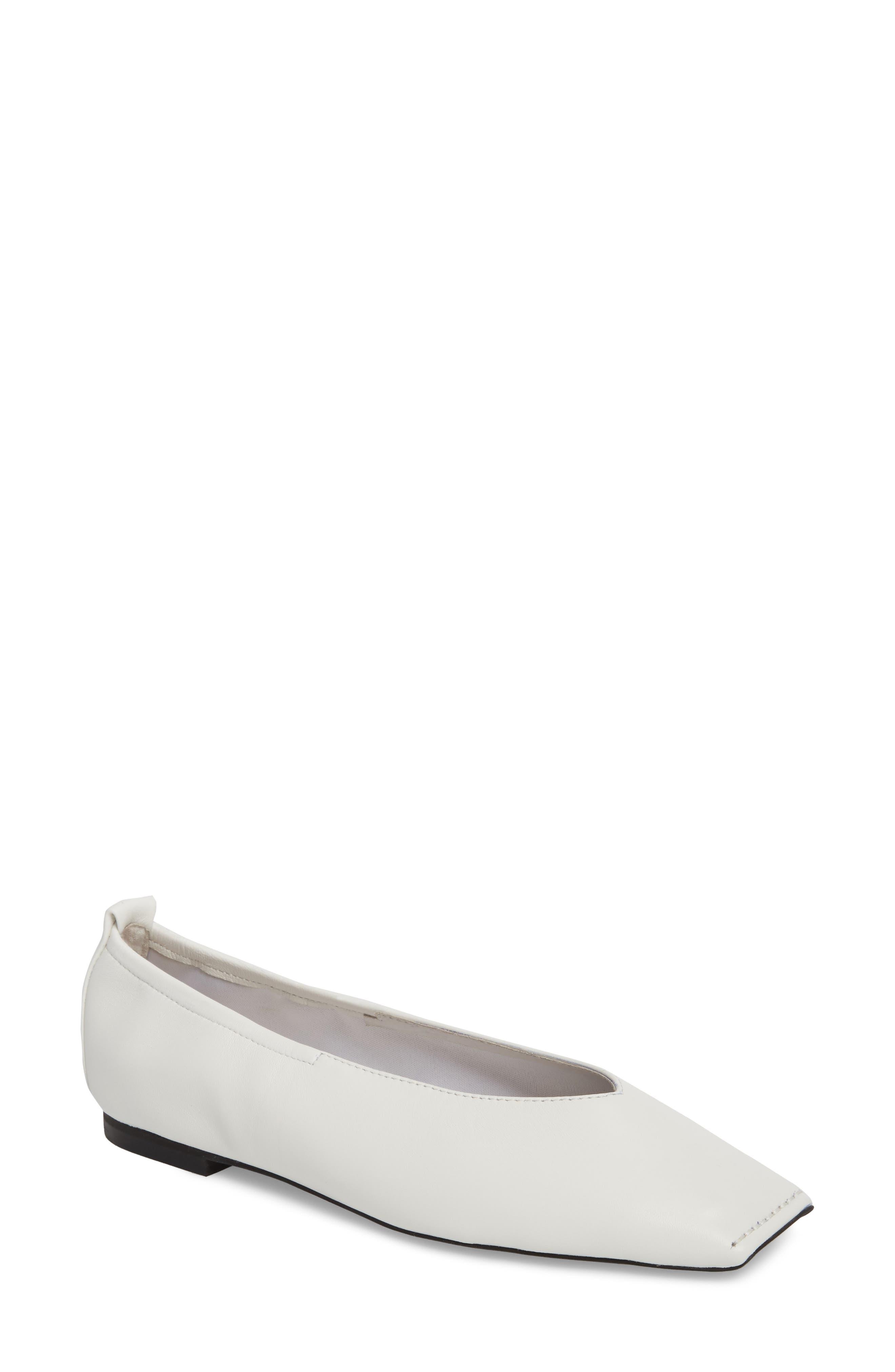 Samoa Blunted Toe Skimmer Flat,                         Main,                         color, White Leather