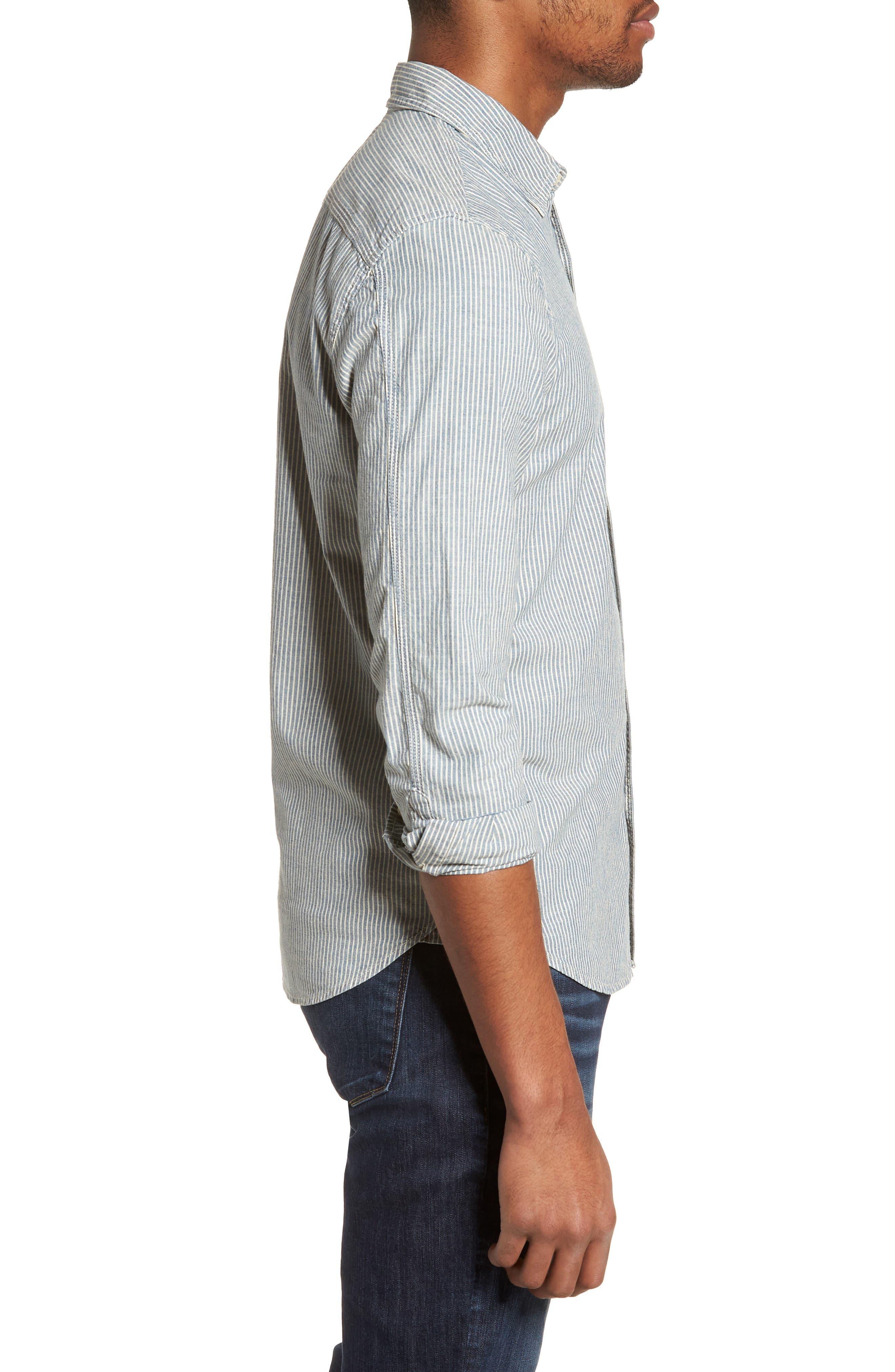 Nelson Slim Fit Stripe Sport Shirt,                             Alternate thumbnail 4, color,                             Indigo/ White Stripe