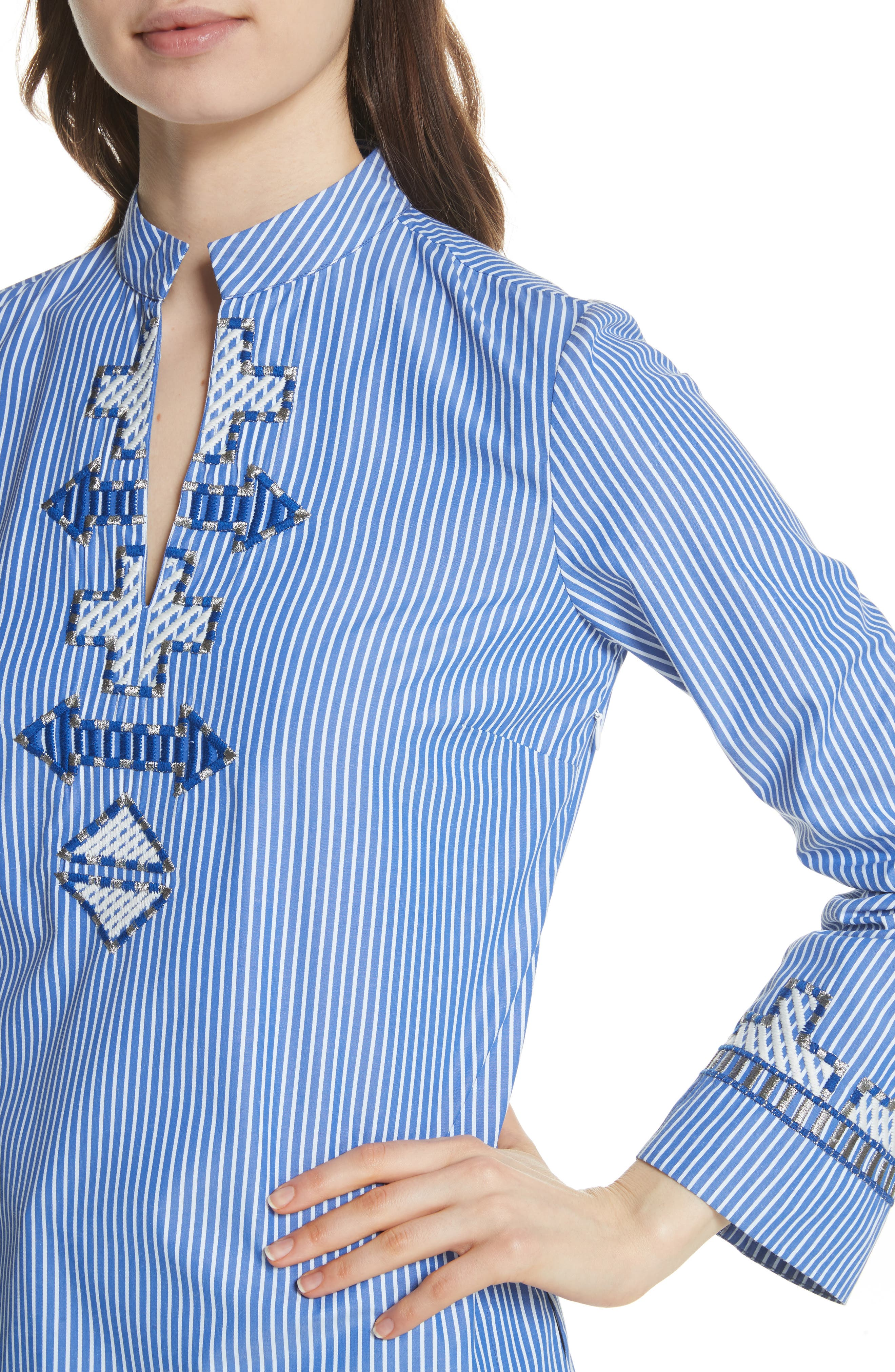 Tory Embroidered Stripe Tunic,                             Alternate thumbnail 4, color,                             Blue/ White