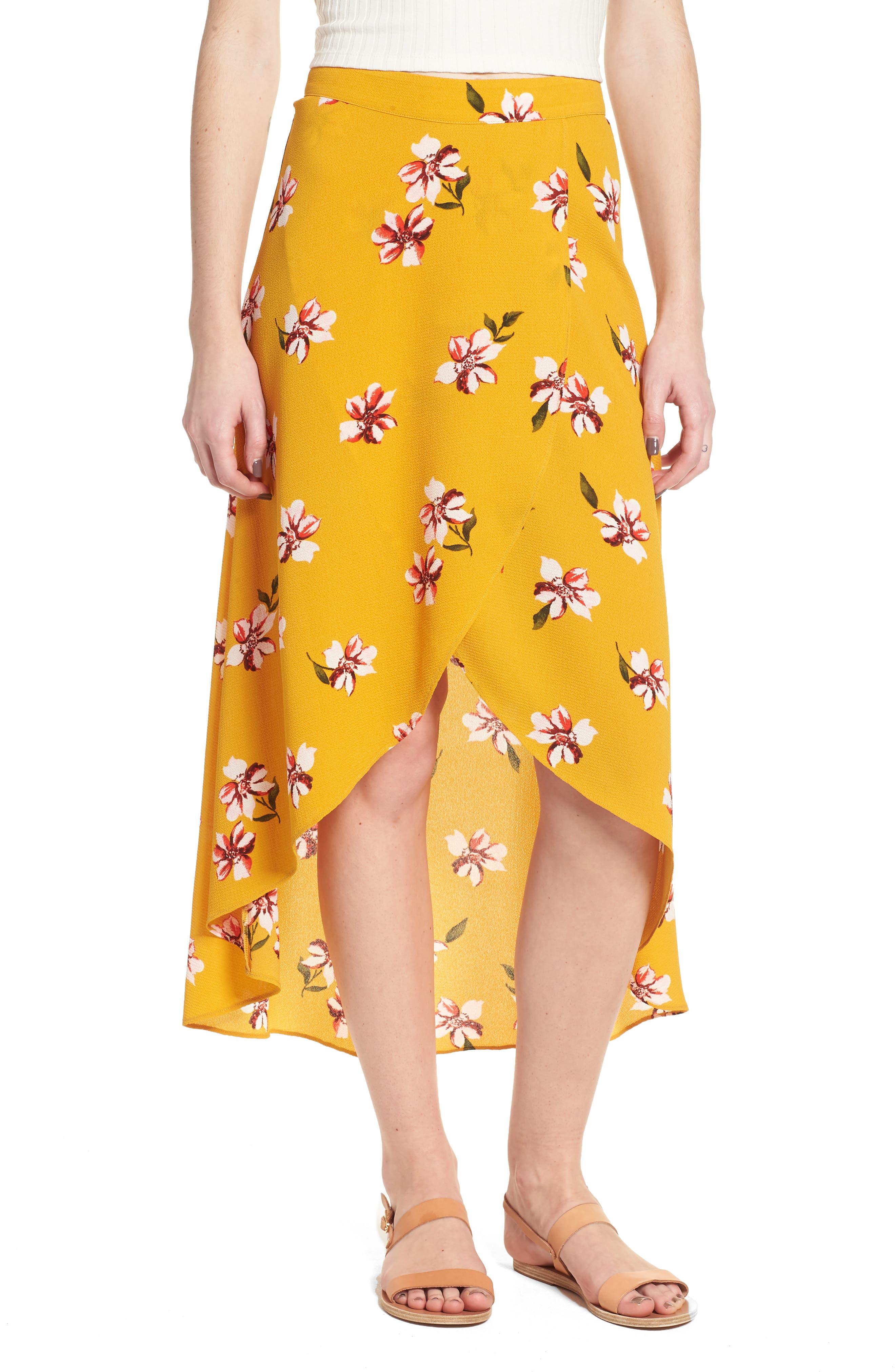 Floral Surplice Skirt,                         Main,                         color, Mustard Floral