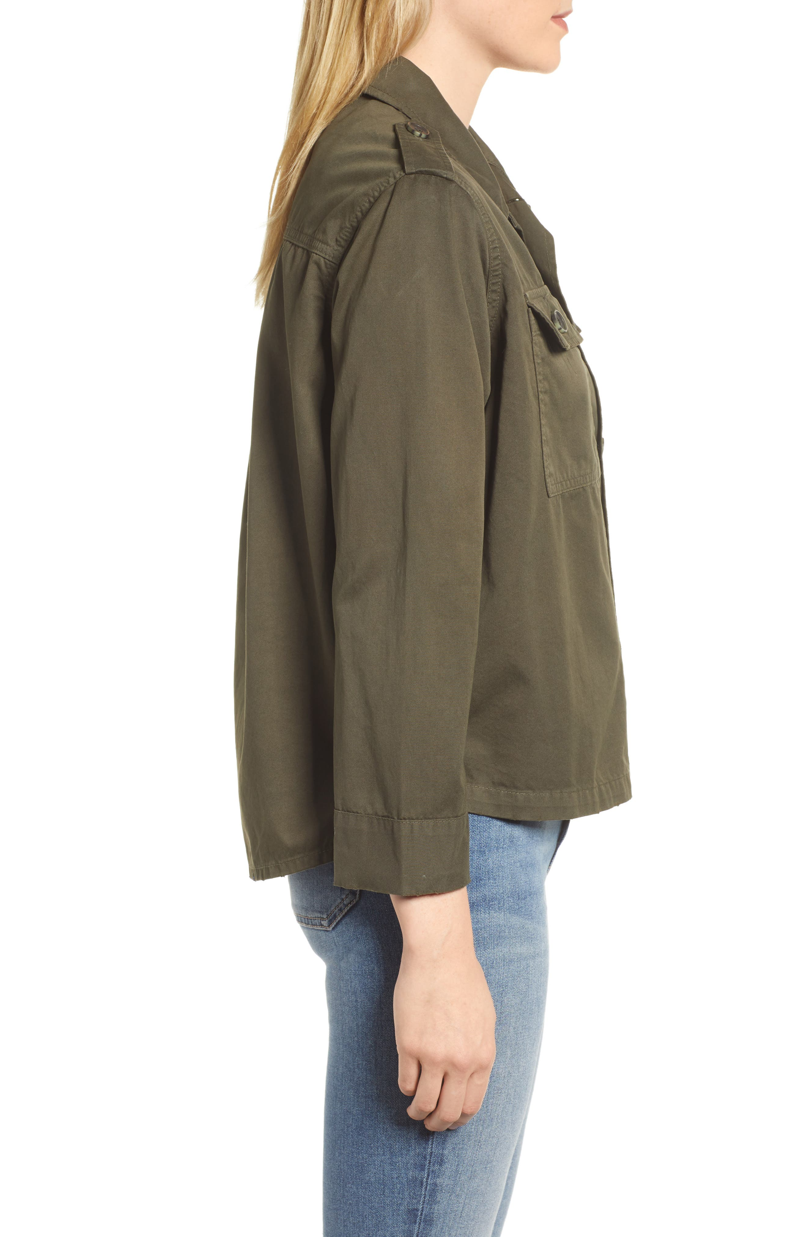 Workwear Cotton Jacket,                             Alternate thumbnail 3, color,                             Army