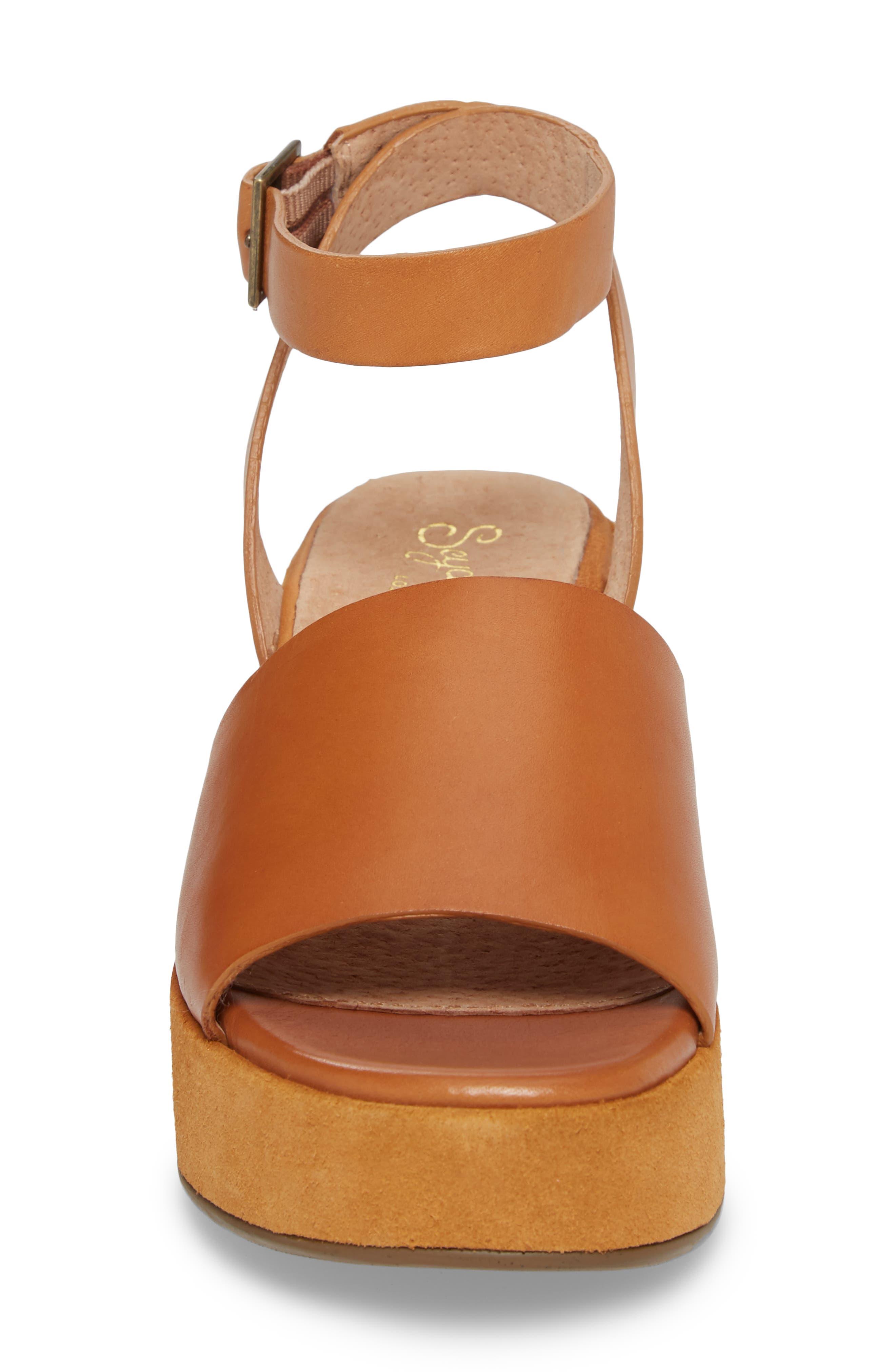 Calming Influence Platform Sandal,                             Alternate thumbnail 4, color,                             Tan Leather