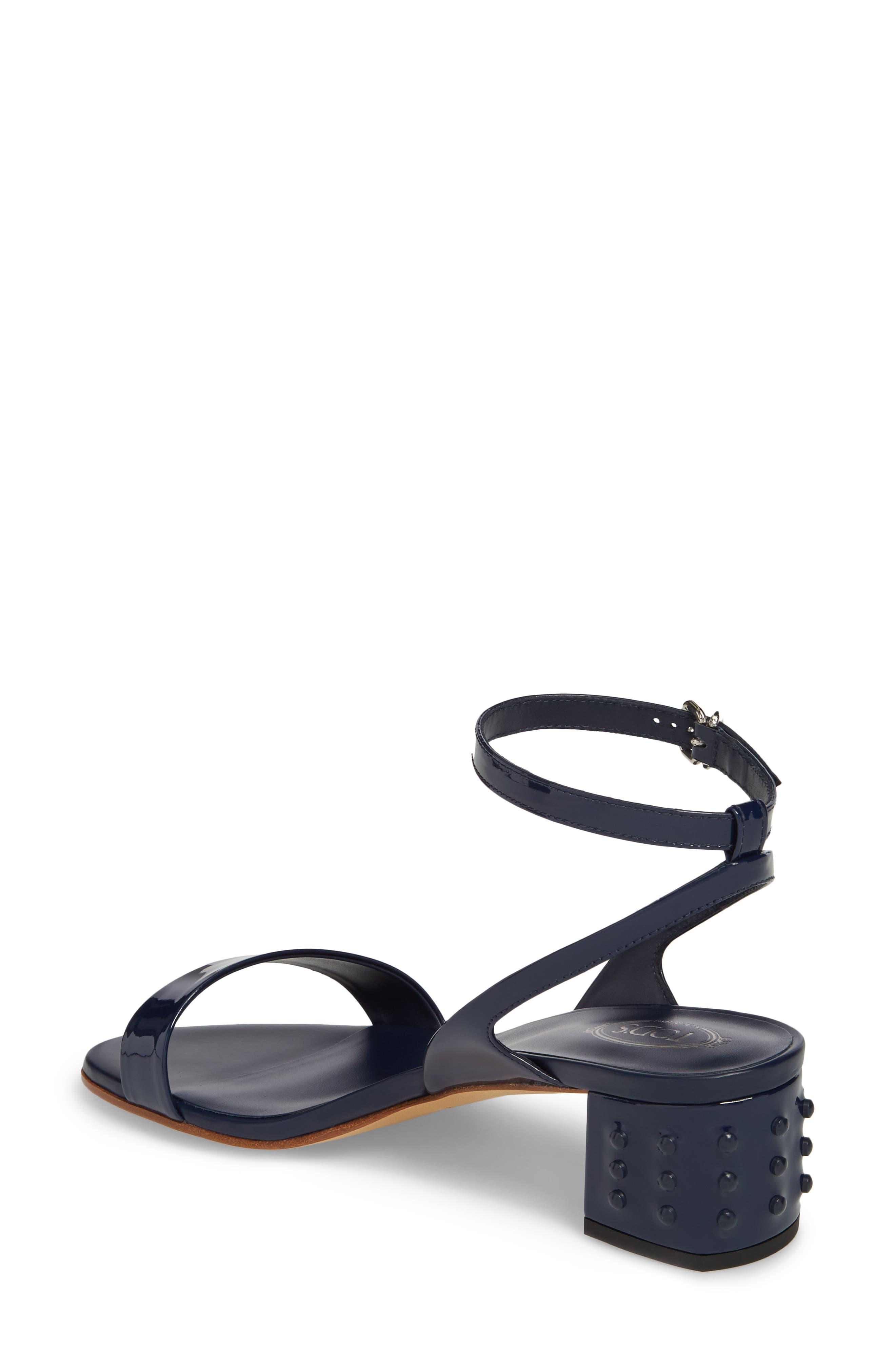 Gommini Block Heel Sandal,                             Alternate thumbnail 2, color,                             Navy