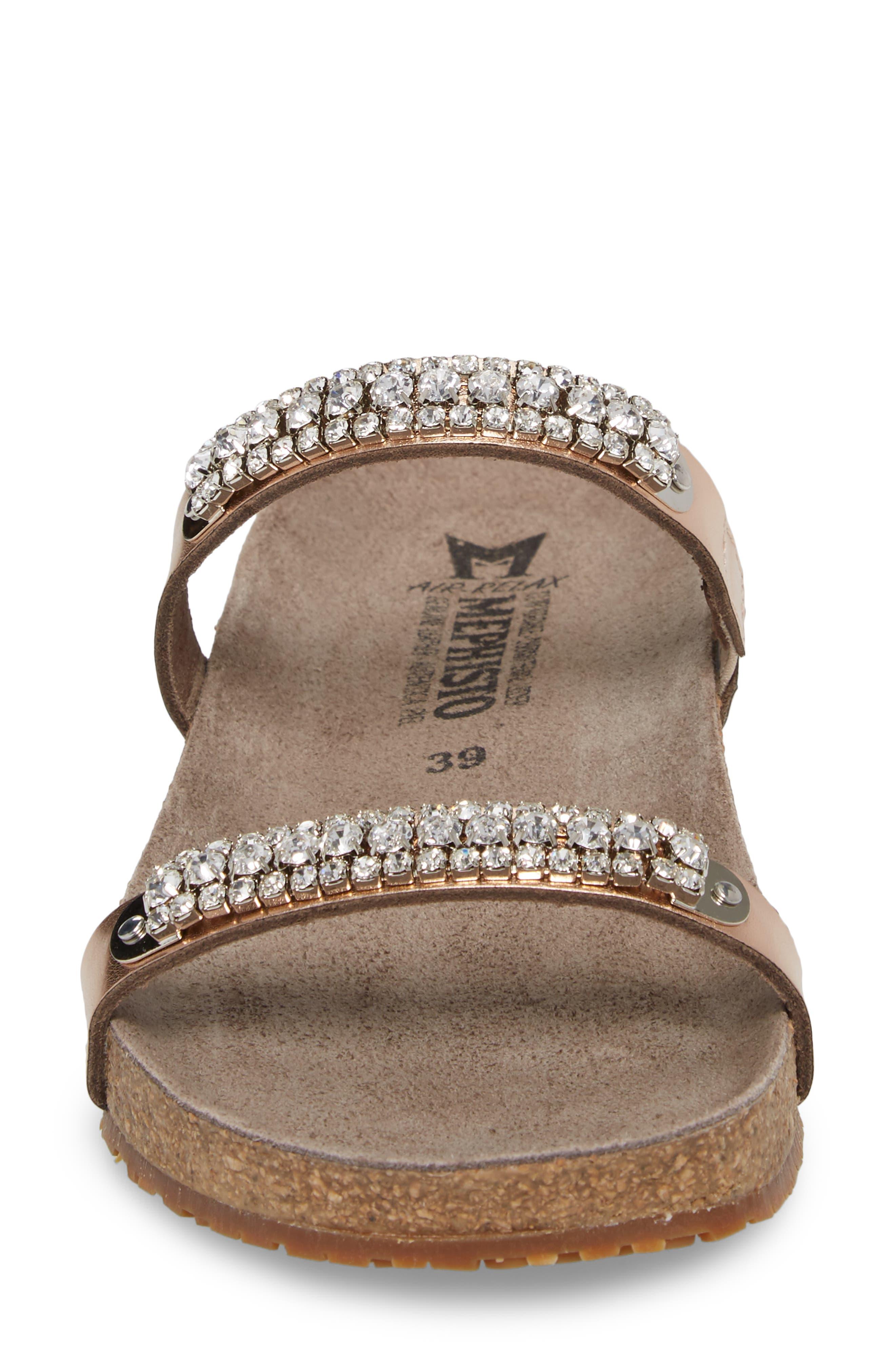 'Ivana' Crystal Embellished Slide Sandal,                             Alternate thumbnail 4, color,                             Old Pink Leather